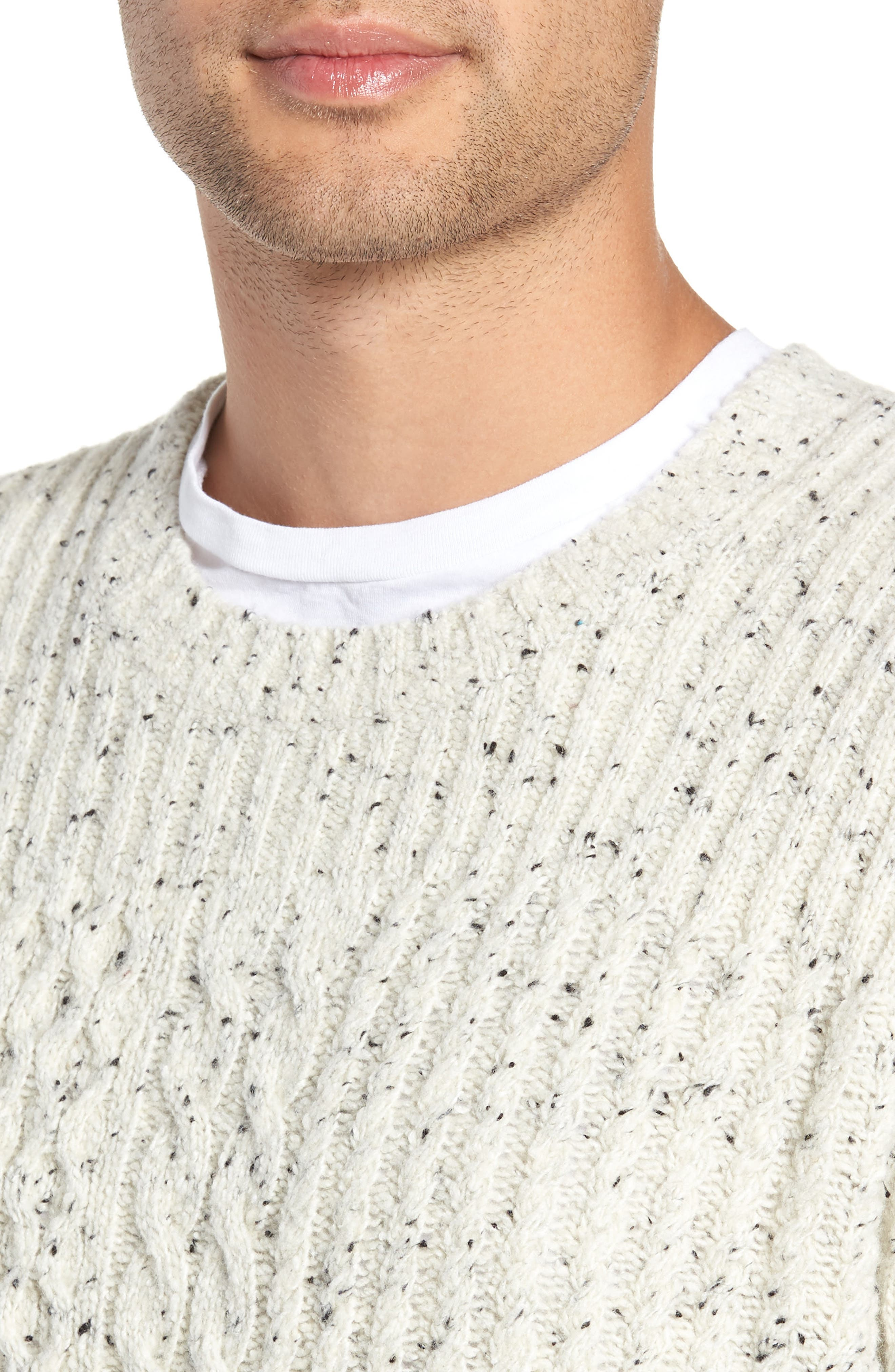 VINCE,                             Cable Knit Sweater,                             Alternate thumbnail 4, color,                             H WHITE