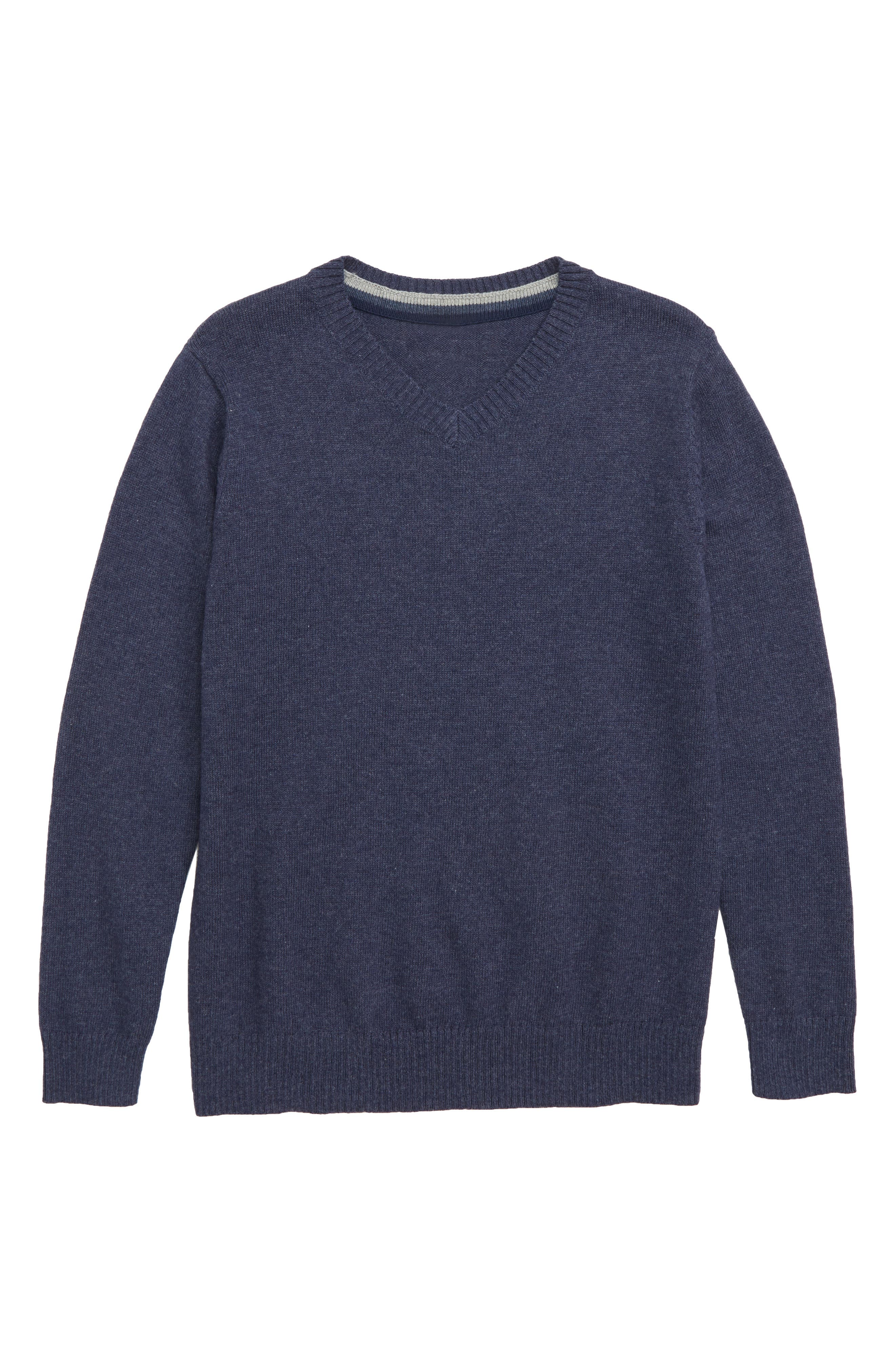 V-Neck Sweater,                             Main thumbnail 1, color,                             NAVY BLAZER HEATHER