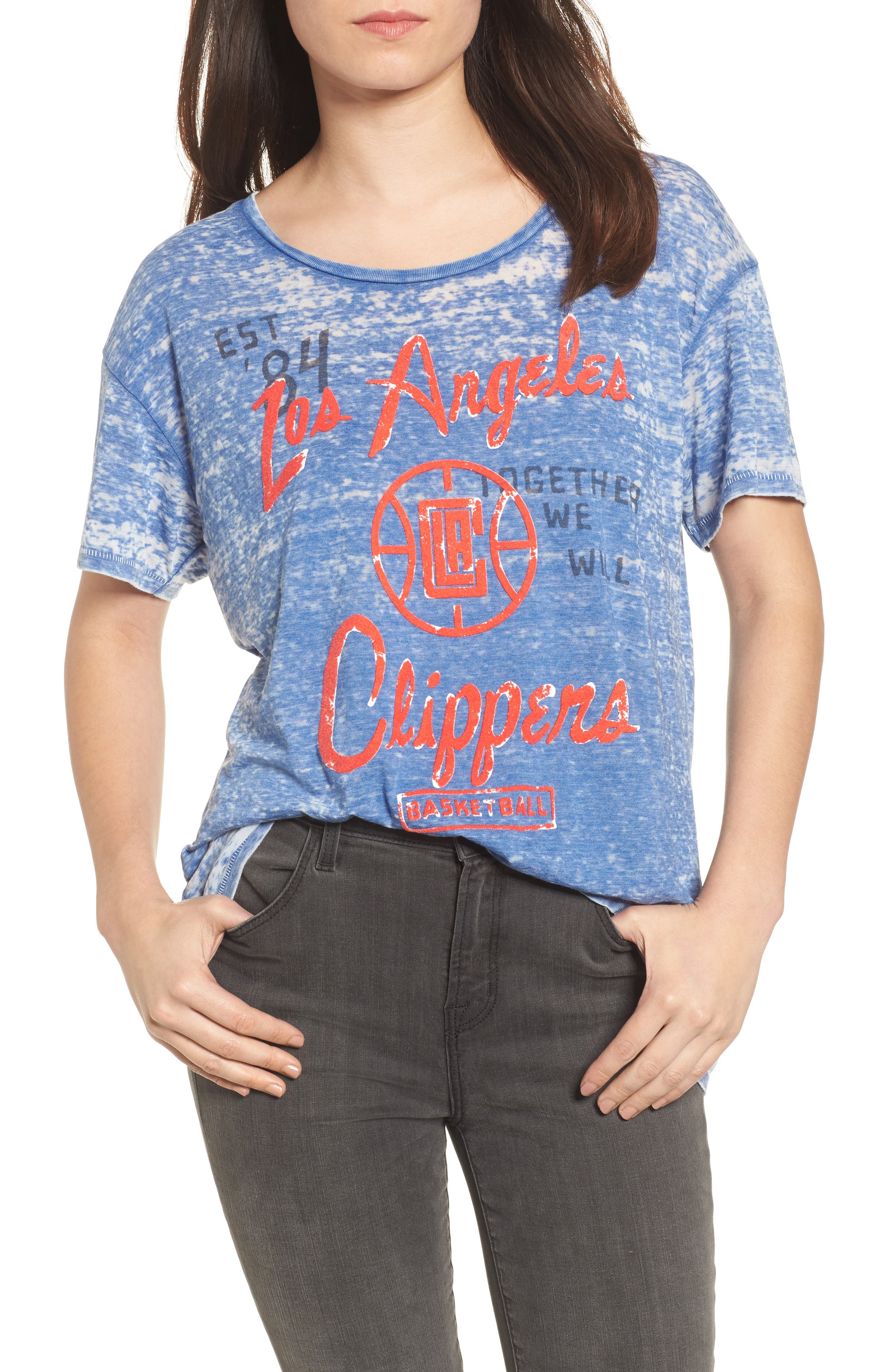 NBA Los Angeles Clippers Burnout Tee,                         Main,                         color, 497