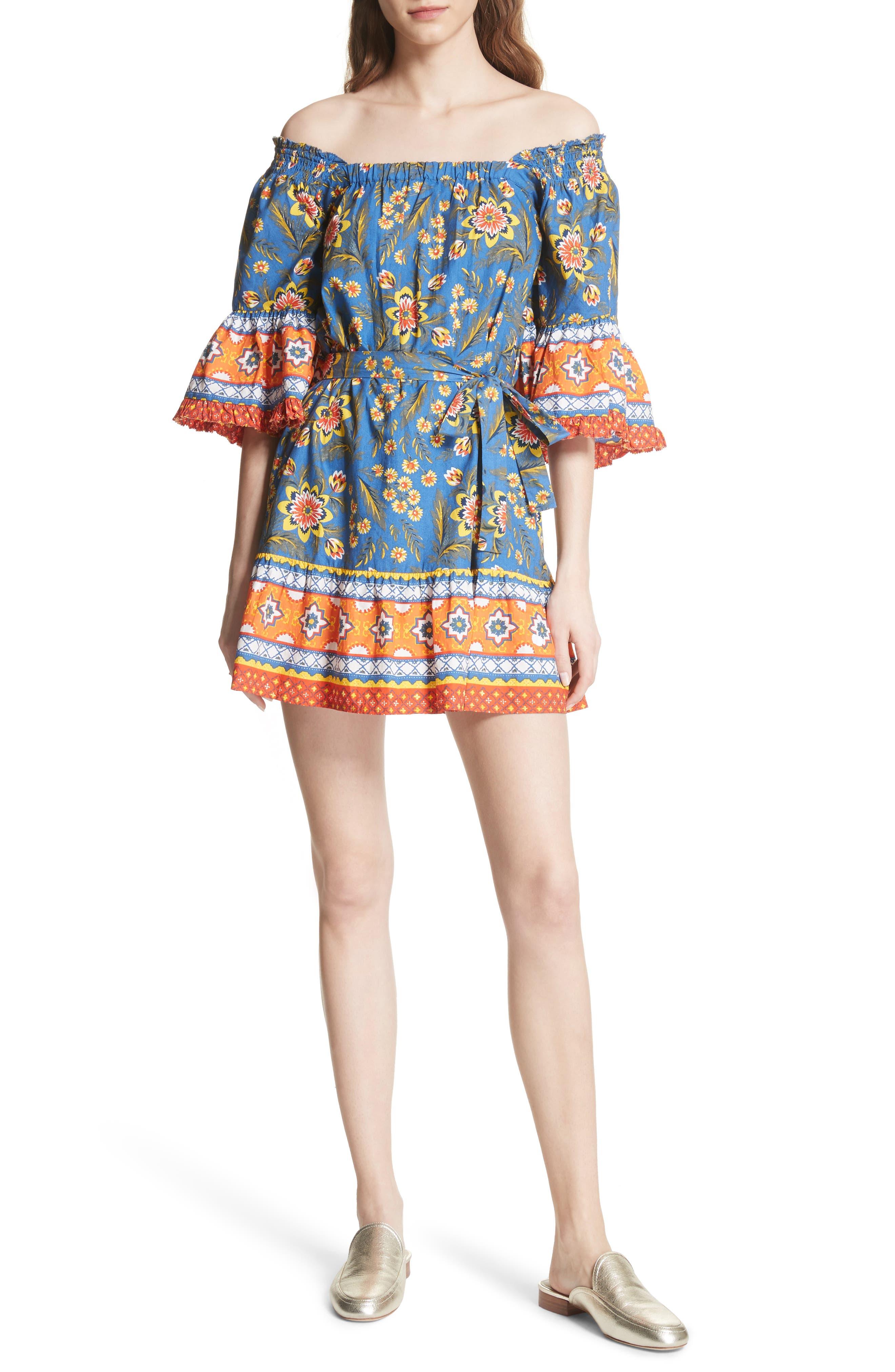 Chloris Off the Shoulder Cotton Dress,                         Main,                         color, BAJA BLUE