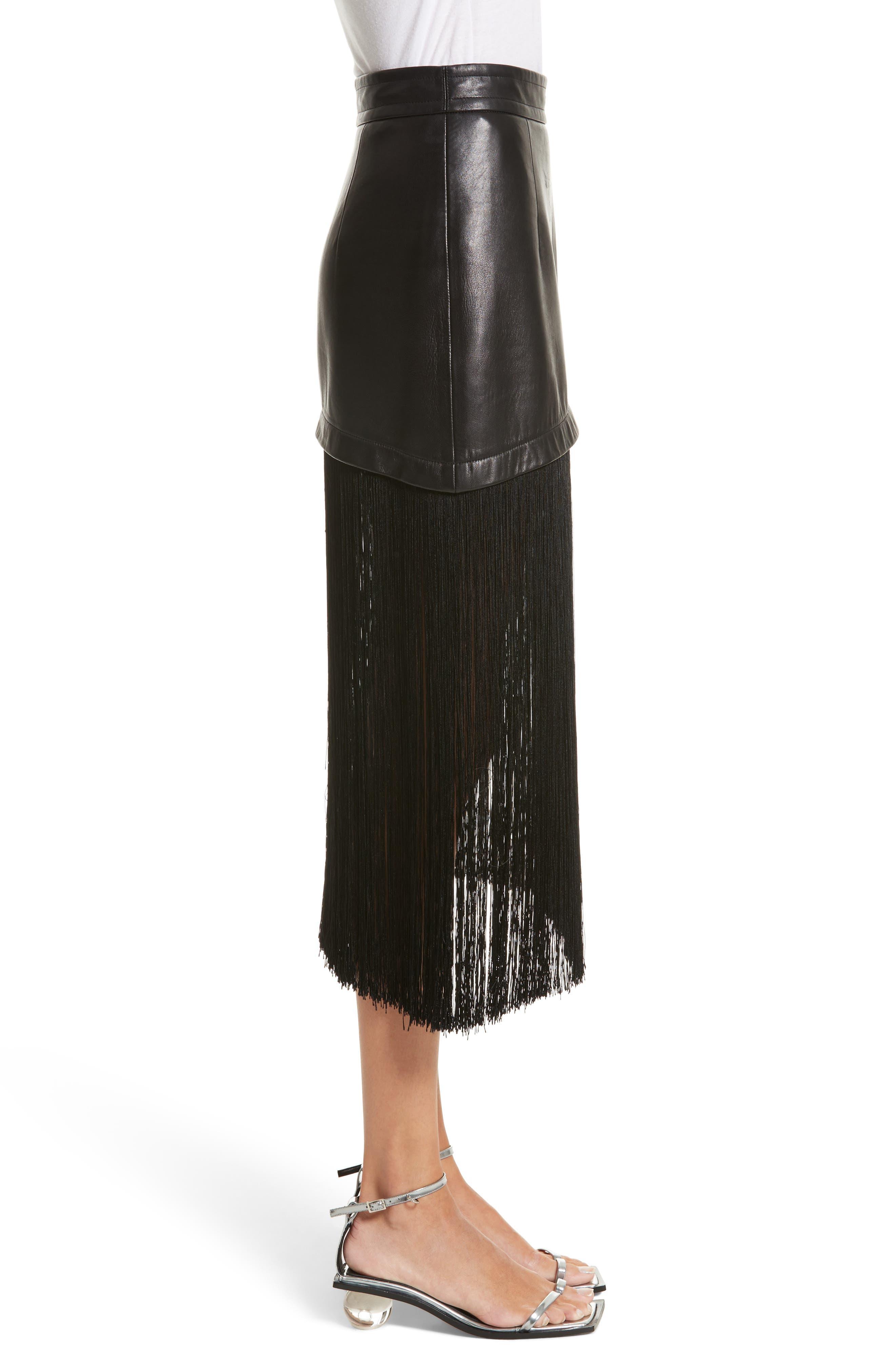 Fringe Hem Leather Miniskirt,                             Alternate thumbnail 3, color,