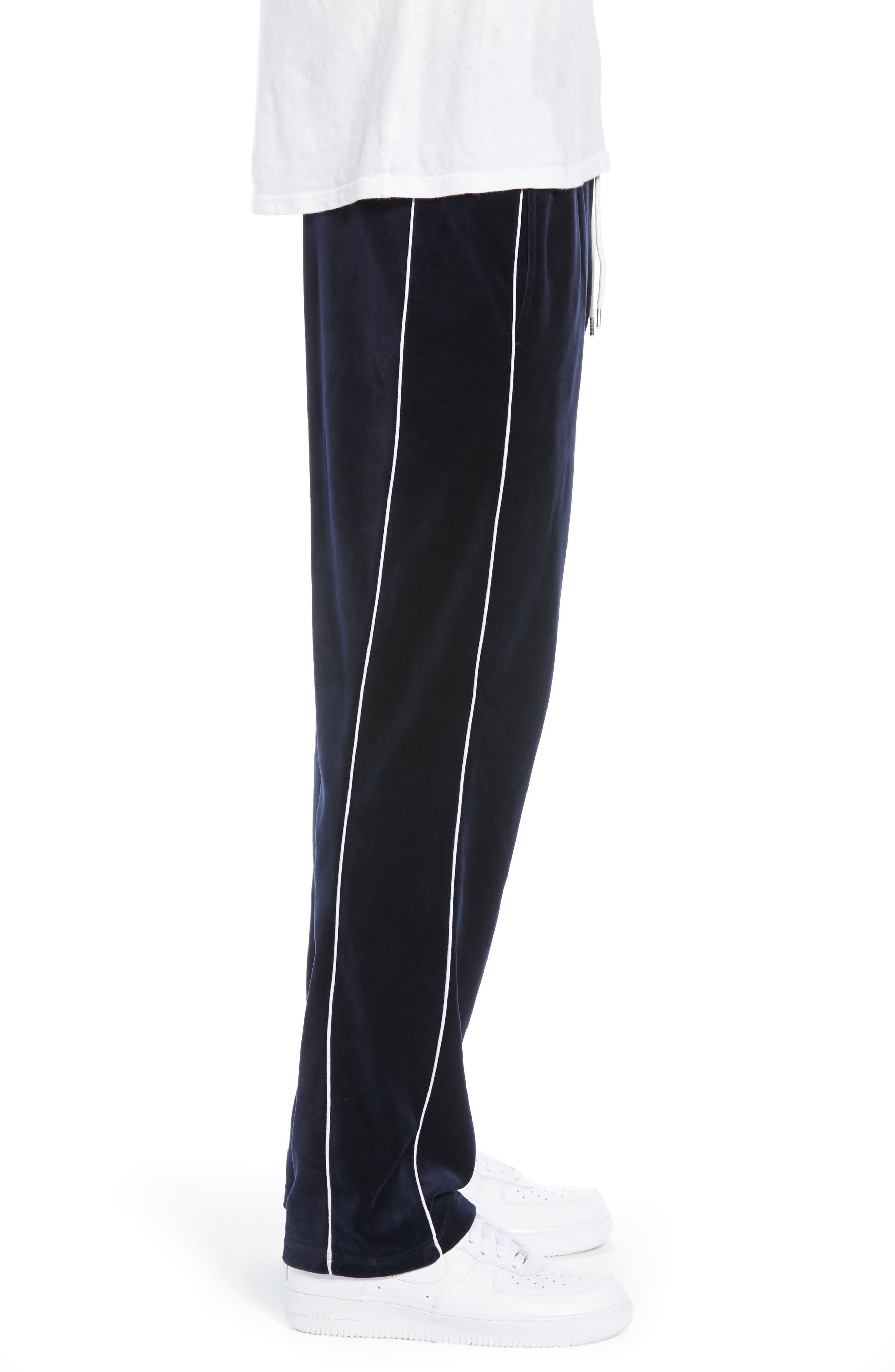 Velour Pants,                             Alternate thumbnail 3, color,                             NAVY BLUE