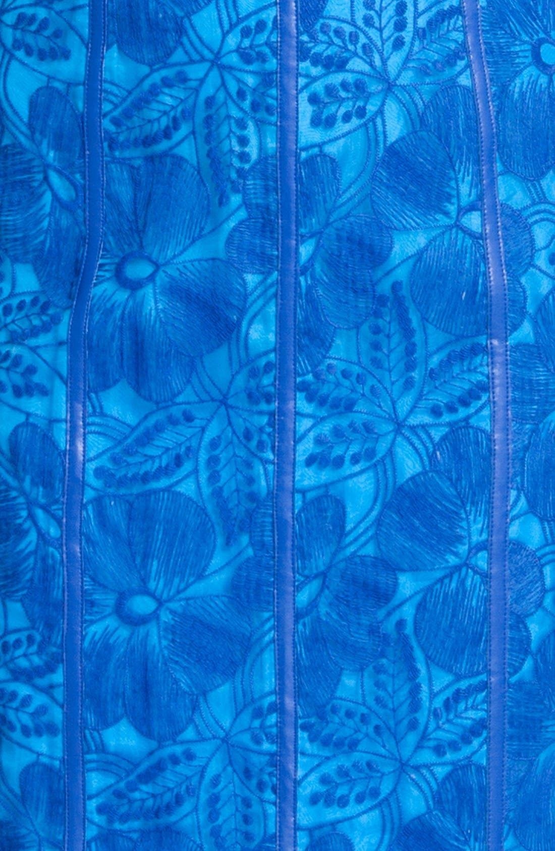 'Eleonora' Faux Leather Trim Organza Sheath Dress,                             Alternate thumbnail 3, color,                             426