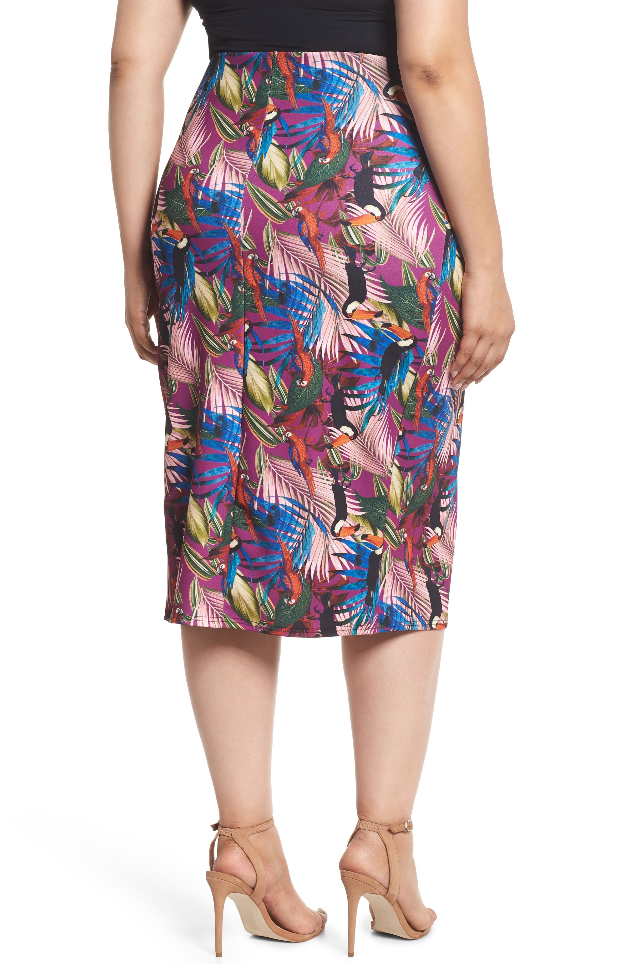 Tropical Side Tab Pencil Skirt,                             Alternate thumbnail 2, color,                             505