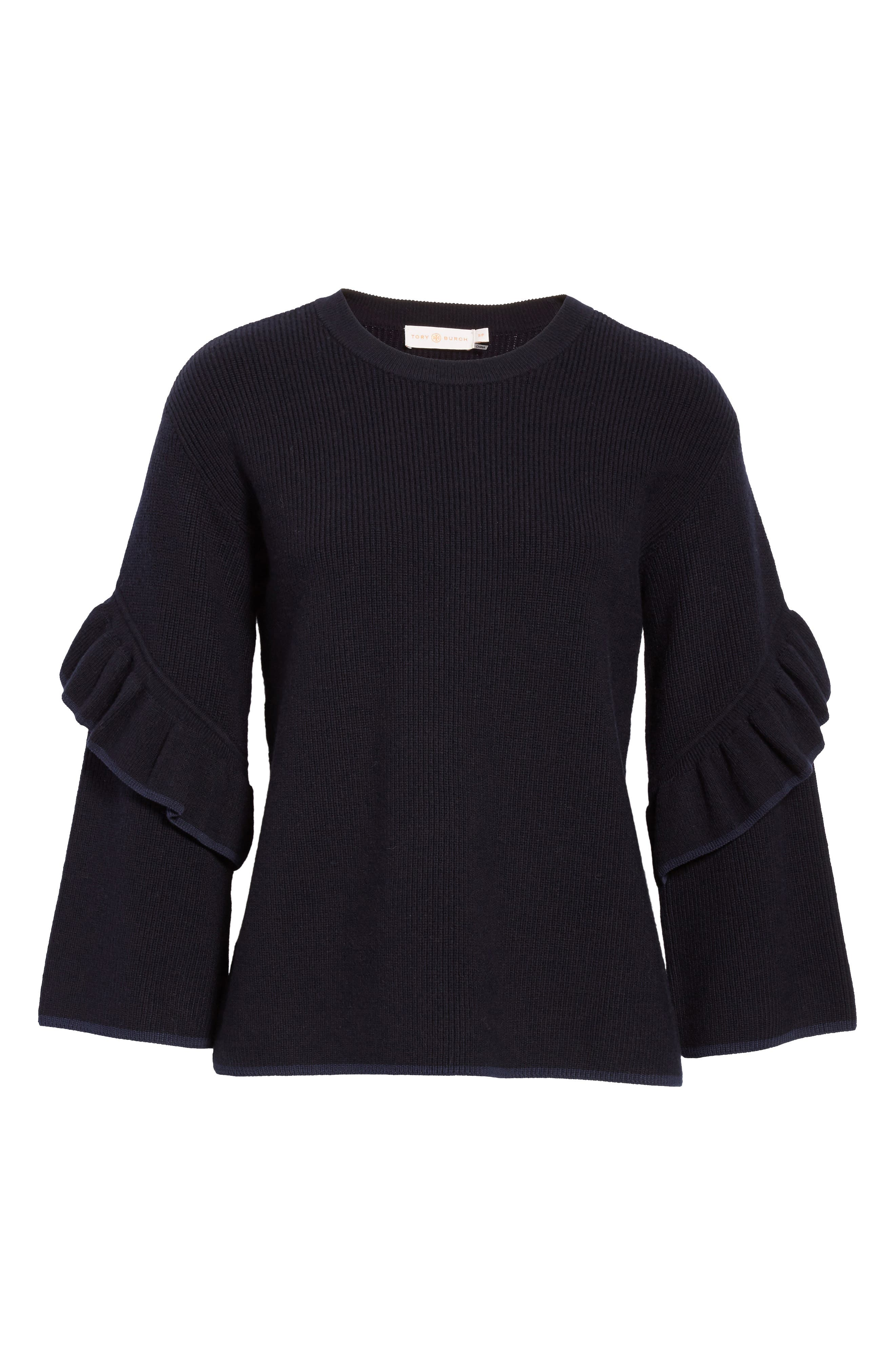 Ashley Ruffle Bell Sleeve Sweater,                             Alternate thumbnail 6, color,                             405