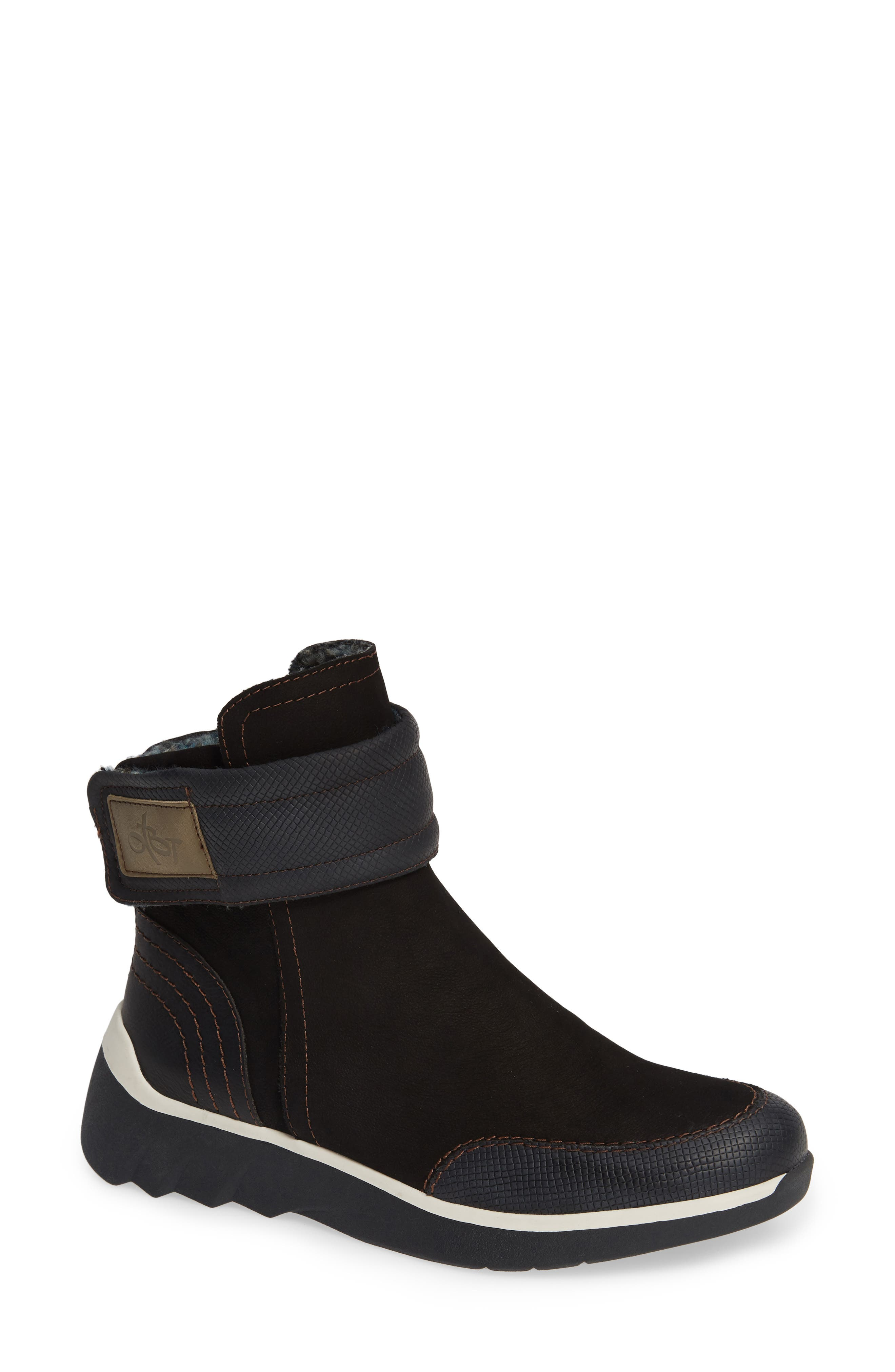 Outing Bootie,                             Main thumbnail 1, color,                             BLACK LEATHER