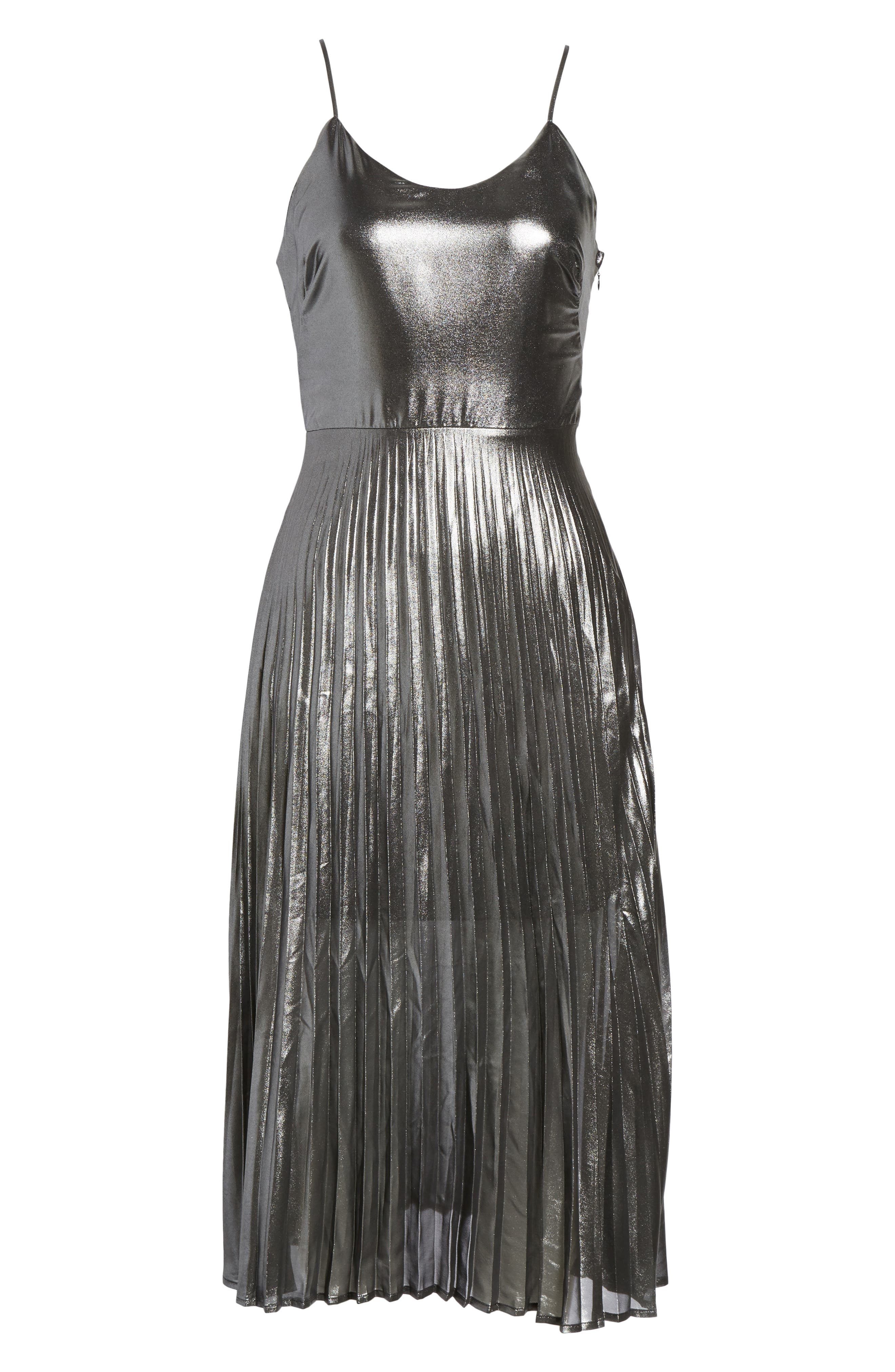 Metallic Pleated Midi Dress,                             Alternate thumbnail 6, color,                             001