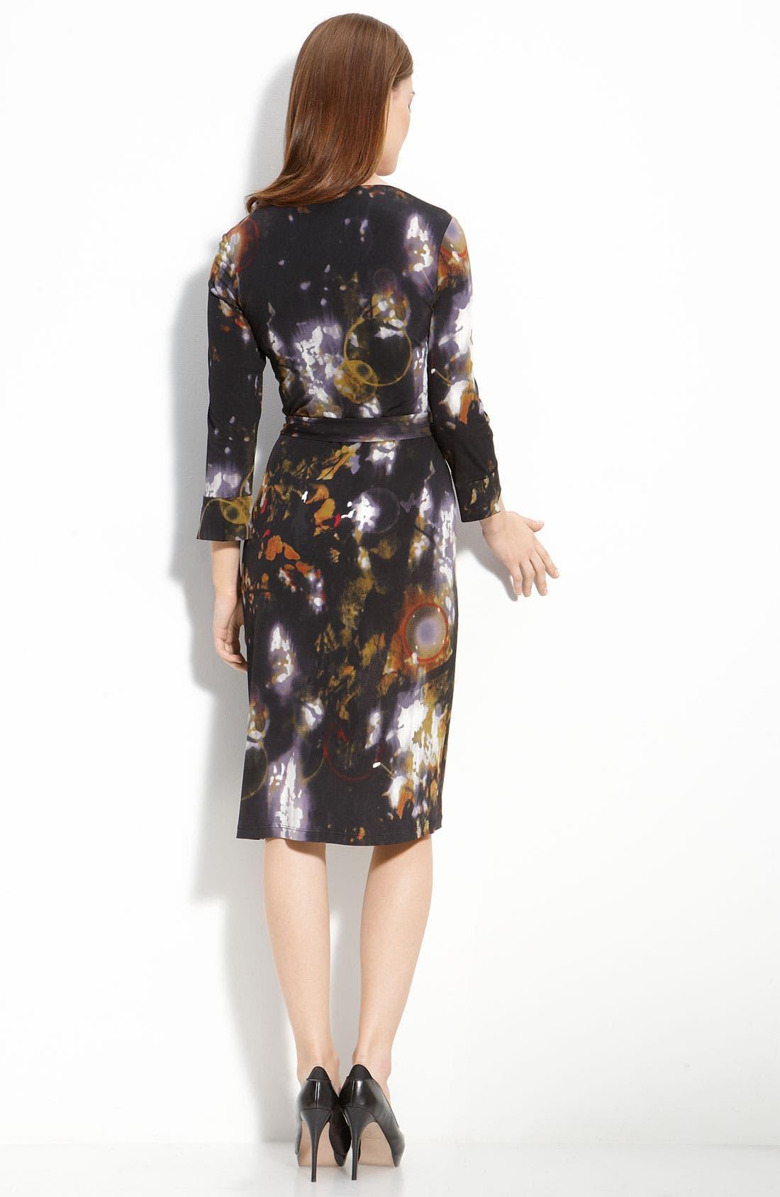Print Faux Wrap Dress,                             Alternate thumbnail 2, color,                             001