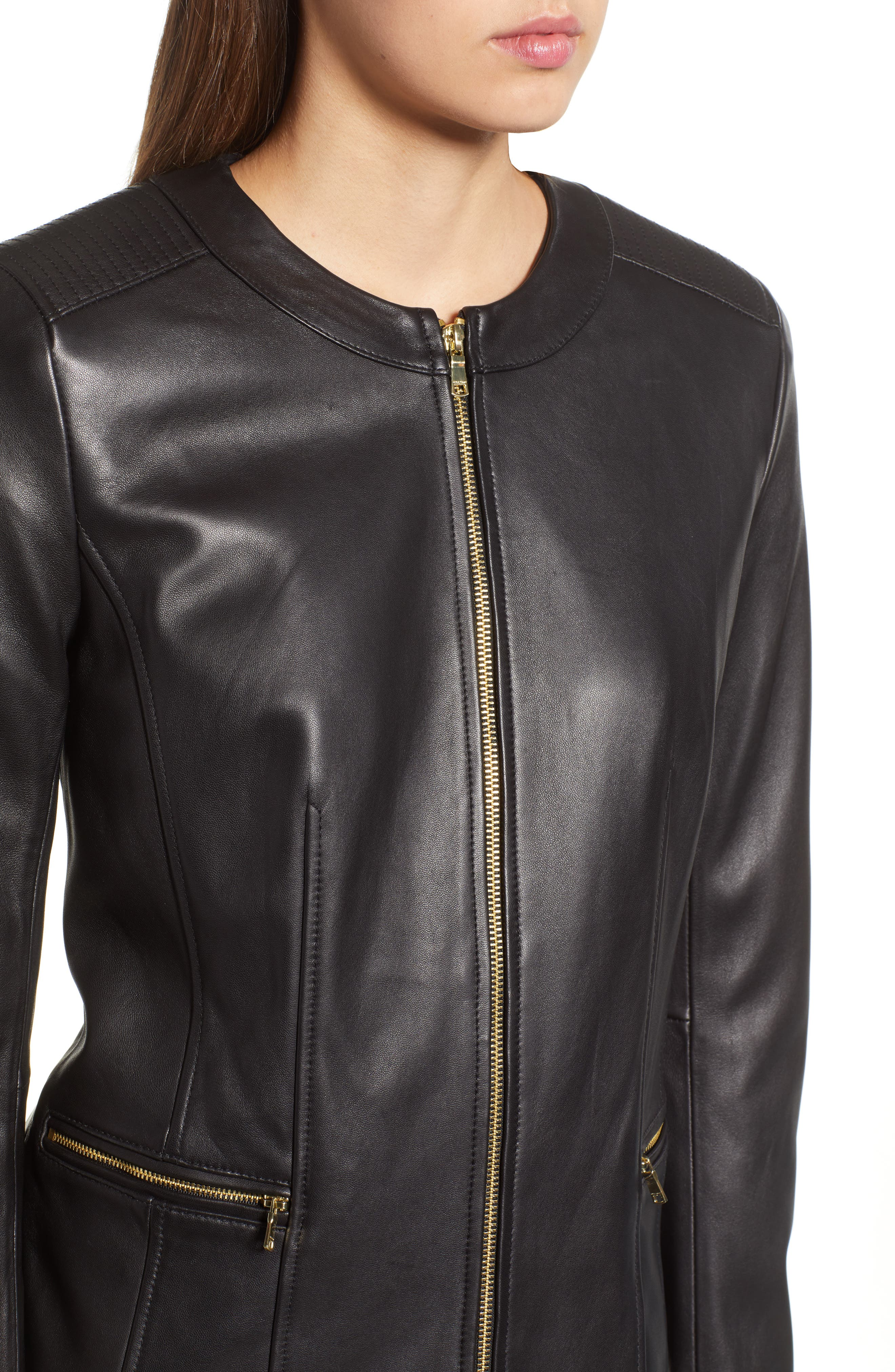 Smooth Lambskin Leather Jacket,                             Alternate thumbnail 4, color,                             002