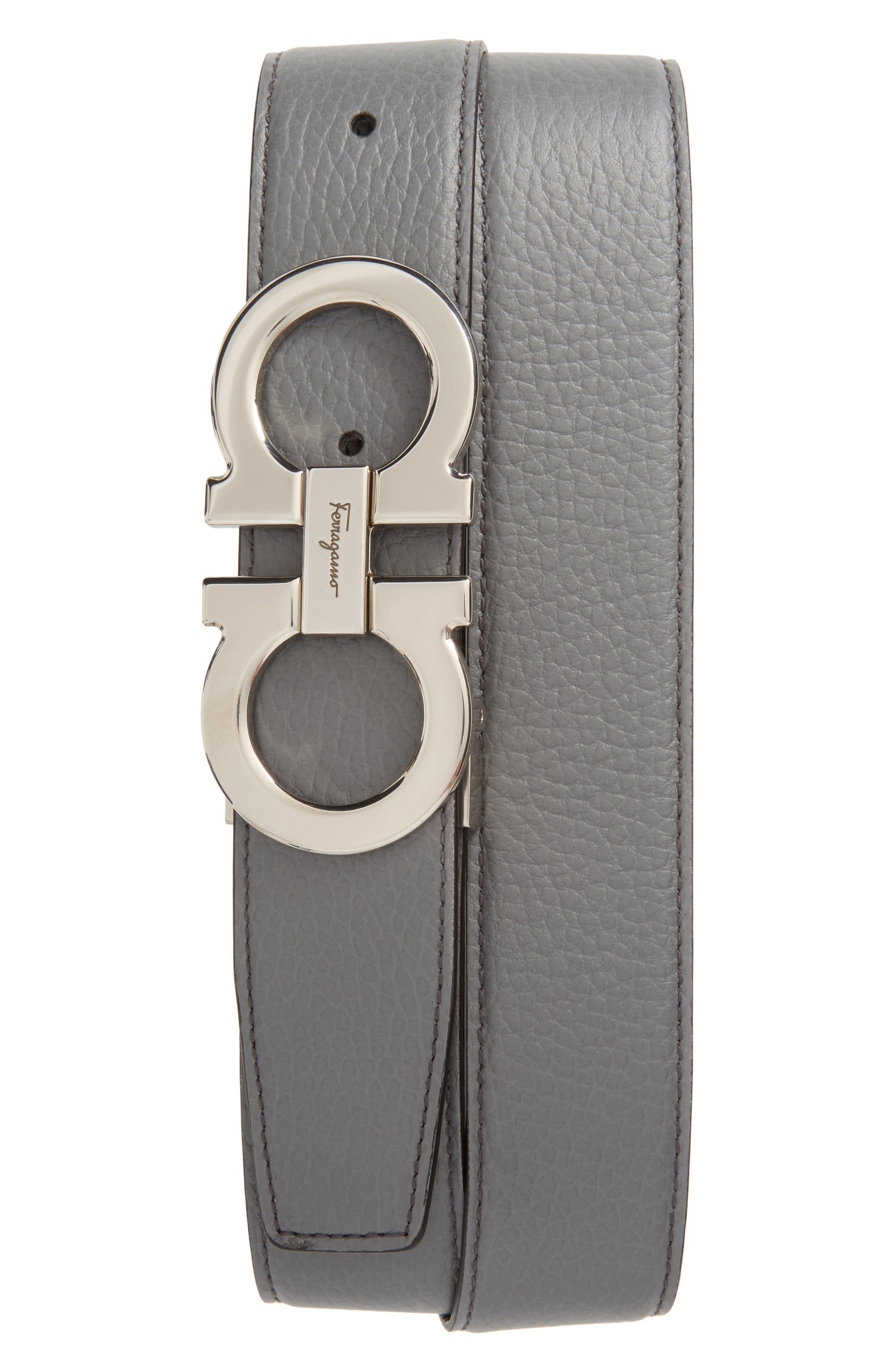 Faceted Double Gancio Reversible Leather Belt,                             Main thumbnail 1, color,                             070