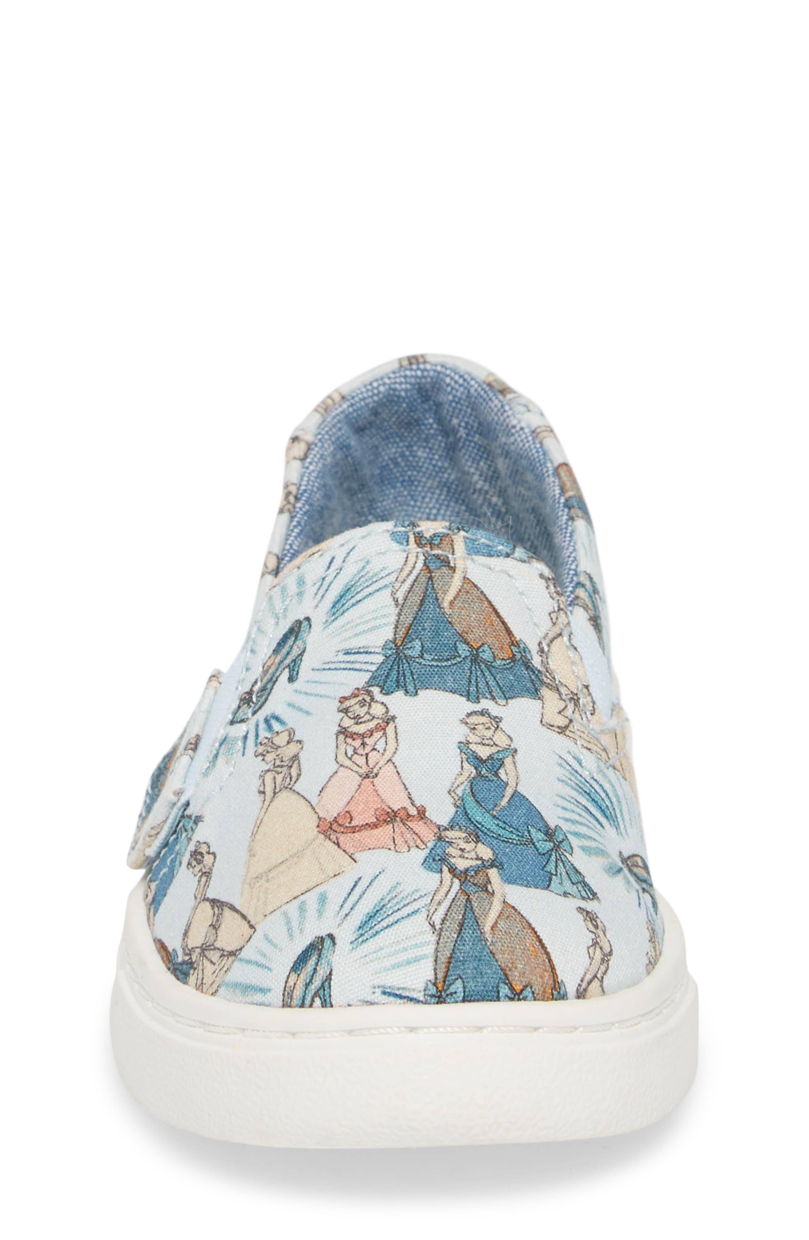 x Disney Luca Slip-On,                             Alternate thumbnail 4, color,                             CINDERELLA BLUE PRINT