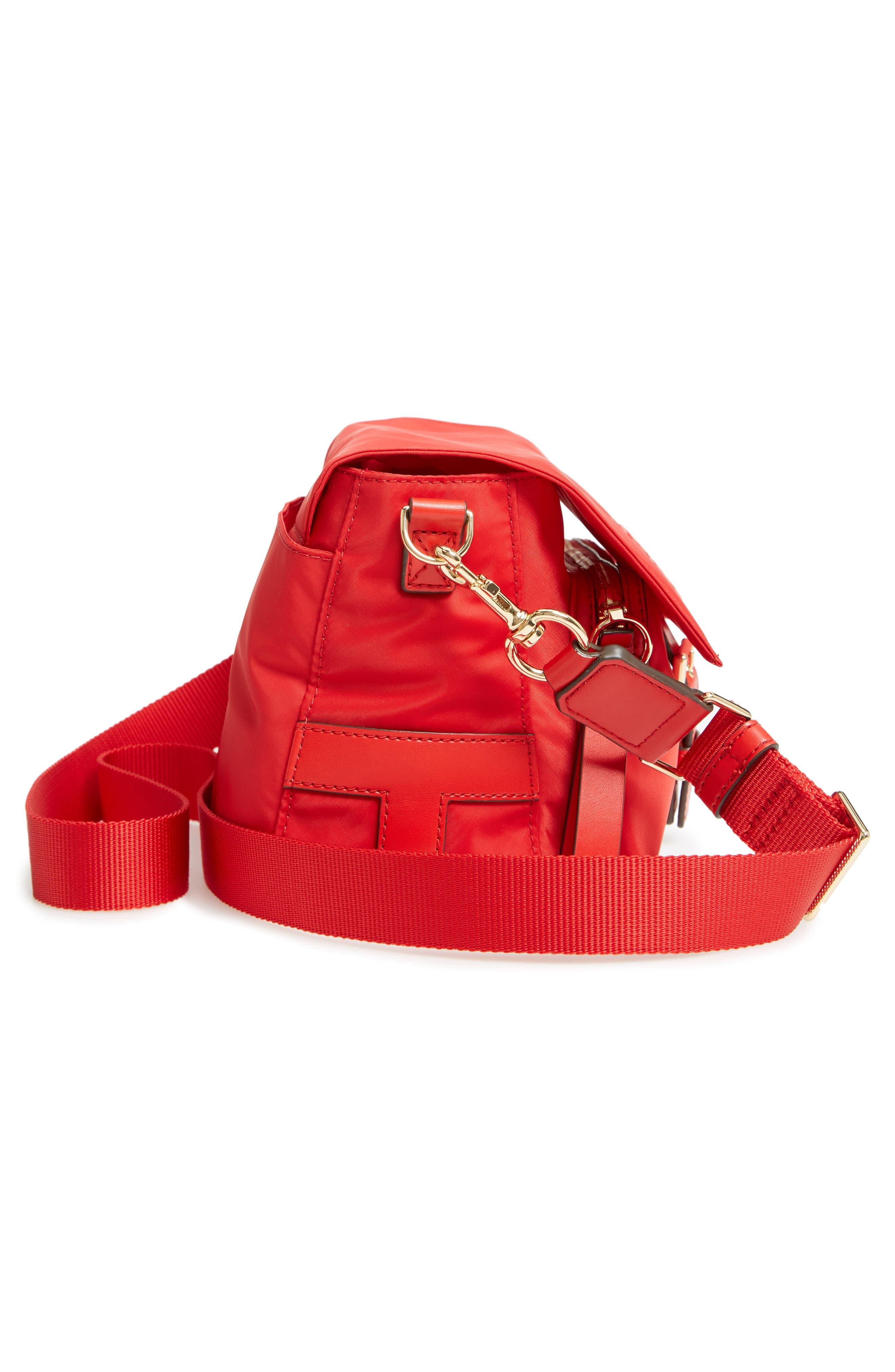 Tilda Nylon Crossbody Bag,                             Alternate thumbnail 6, color,                             BRILLIANT RED