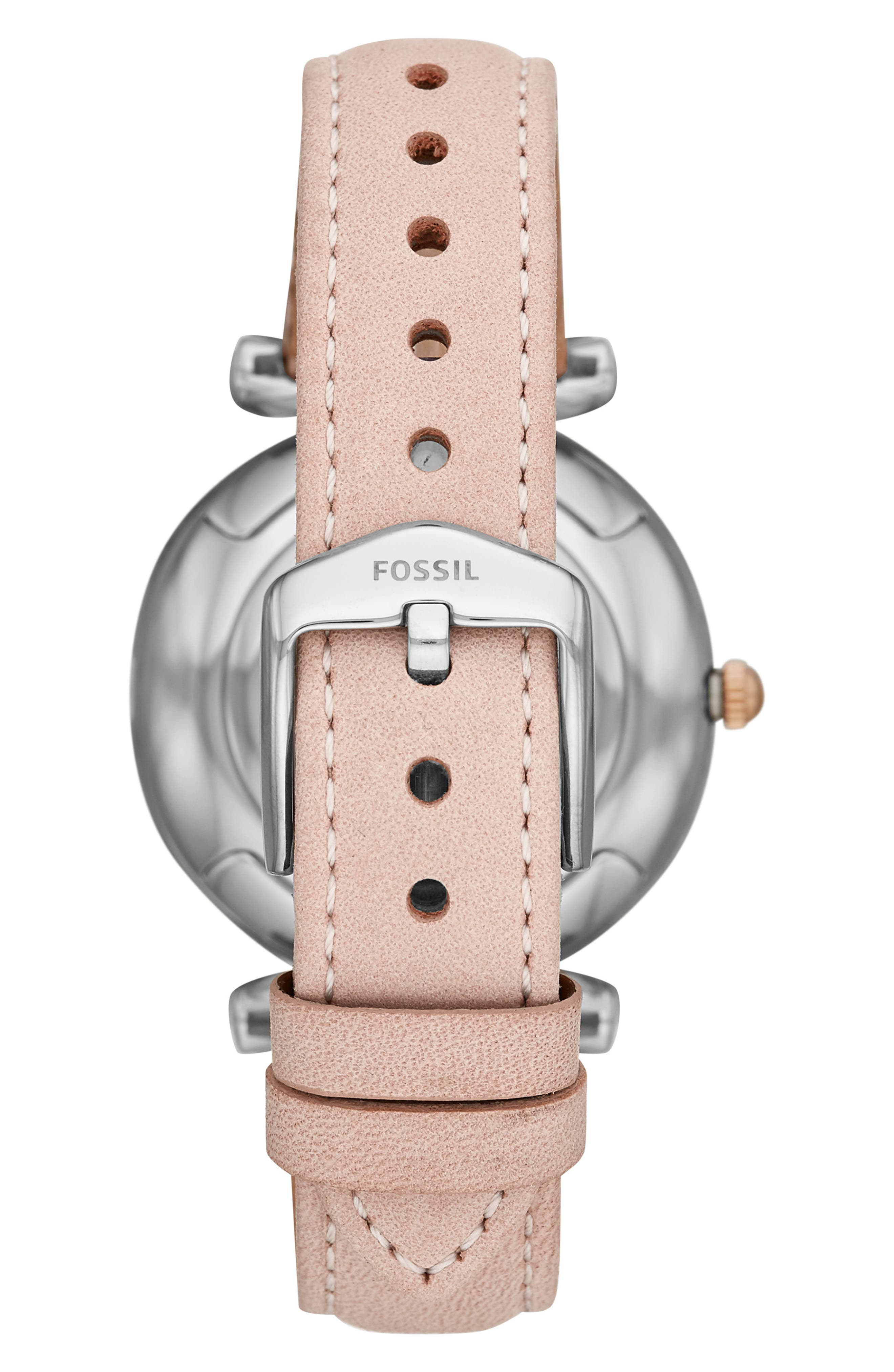 FOSSIL,                             Carlie Leather Strap Watch, 35mm,                             Alternate thumbnail 2, color,                             PINK/ SILVER/ ROSE GOLD