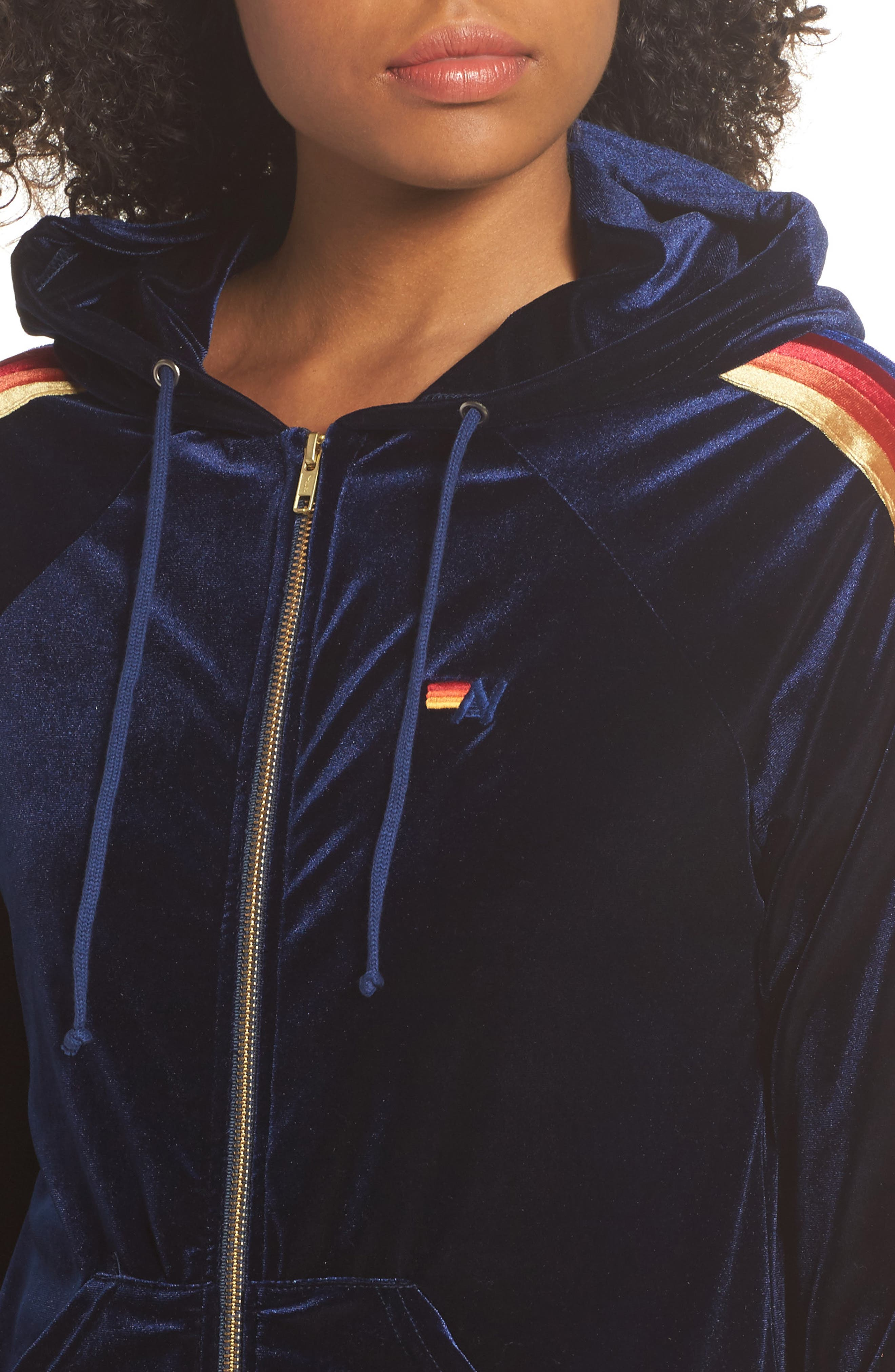 Classic Velvet Hoodie,                             Alternate thumbnail 4, color,                             NAVY