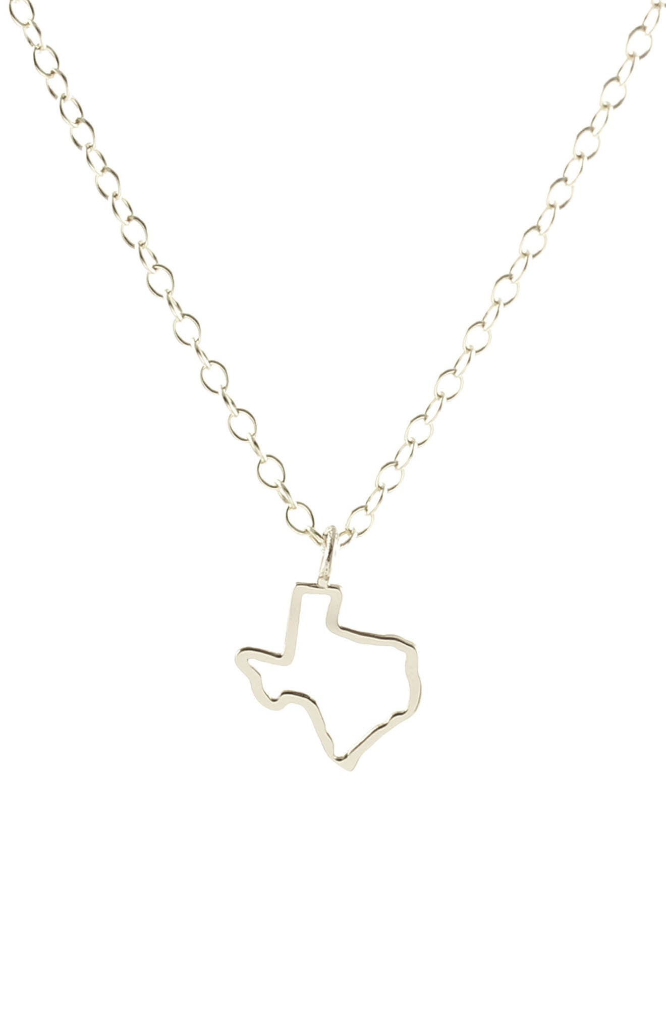 Texas Outline Charm Necklace,                             Main thumbnail 1, color,                             TEXAS - SILVER