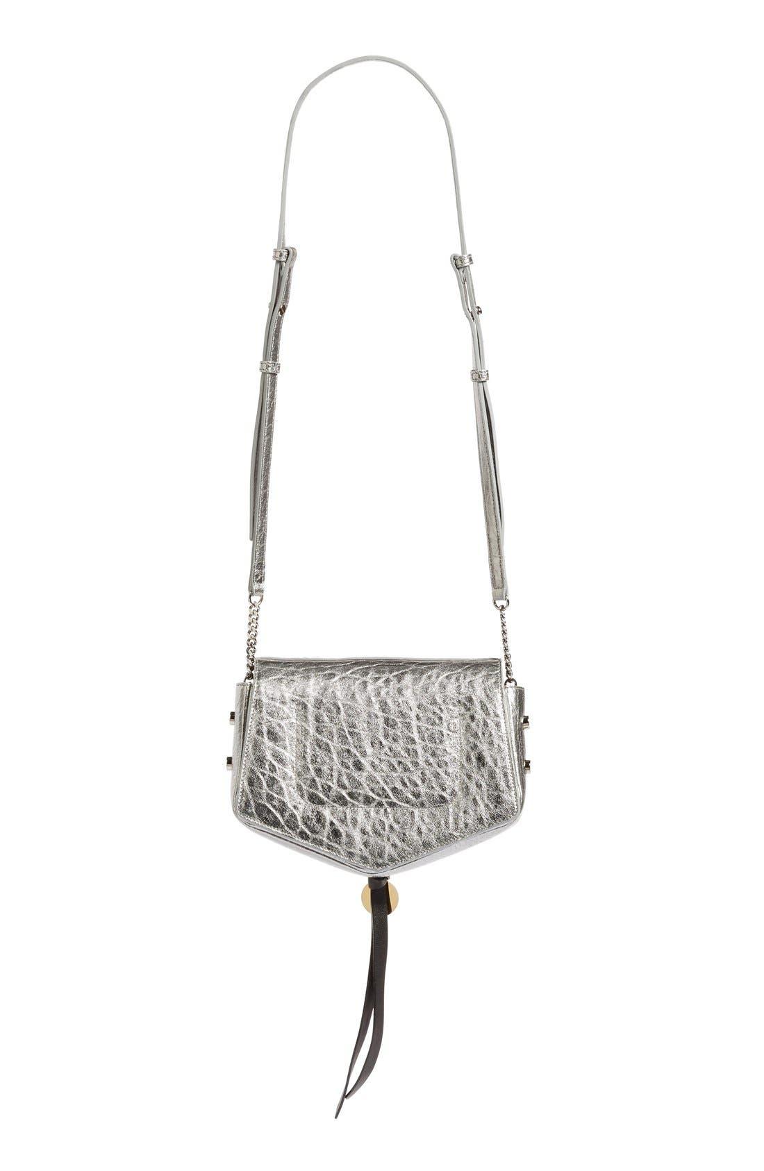 Arrow Metallic Grained Leather Shoulder Bag,                             Alternate thumbnail 3, color,                             045