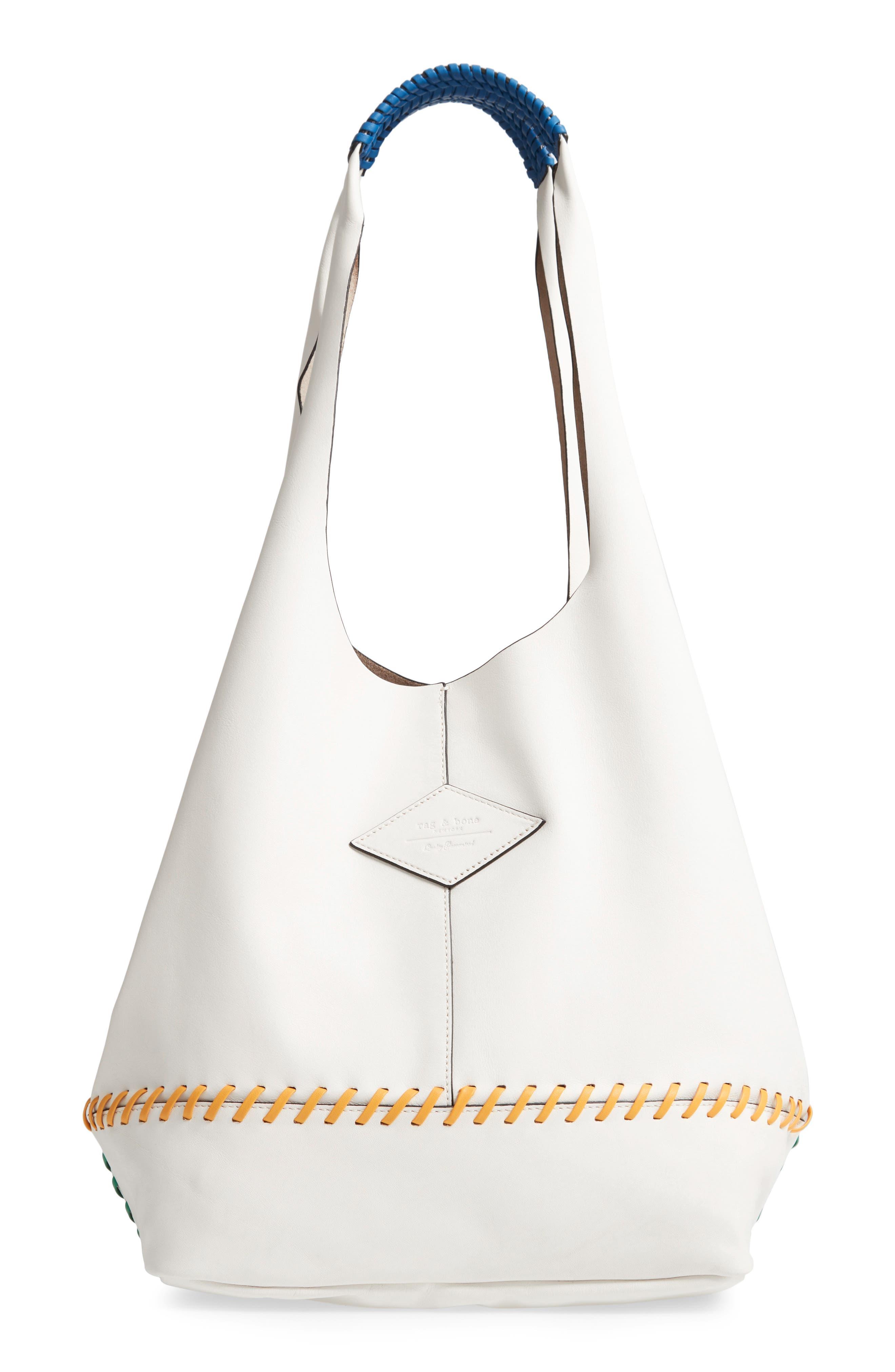Camden Whipstitch Leather Shopper - White in White Multi