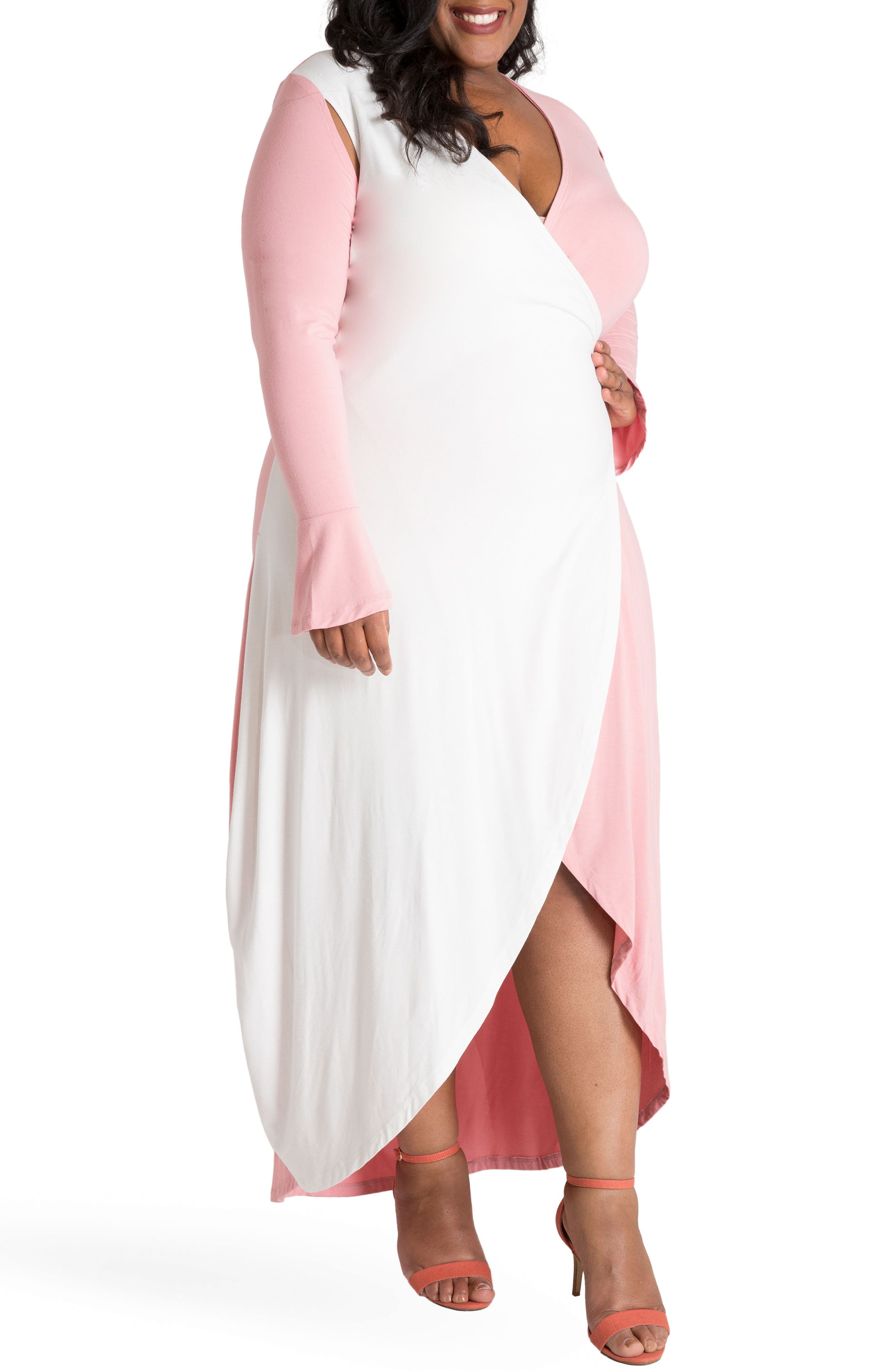 Leticia Wrap Maxi Dress,                             Alternate thumbnail 4, color,                             WHITE AND PINK