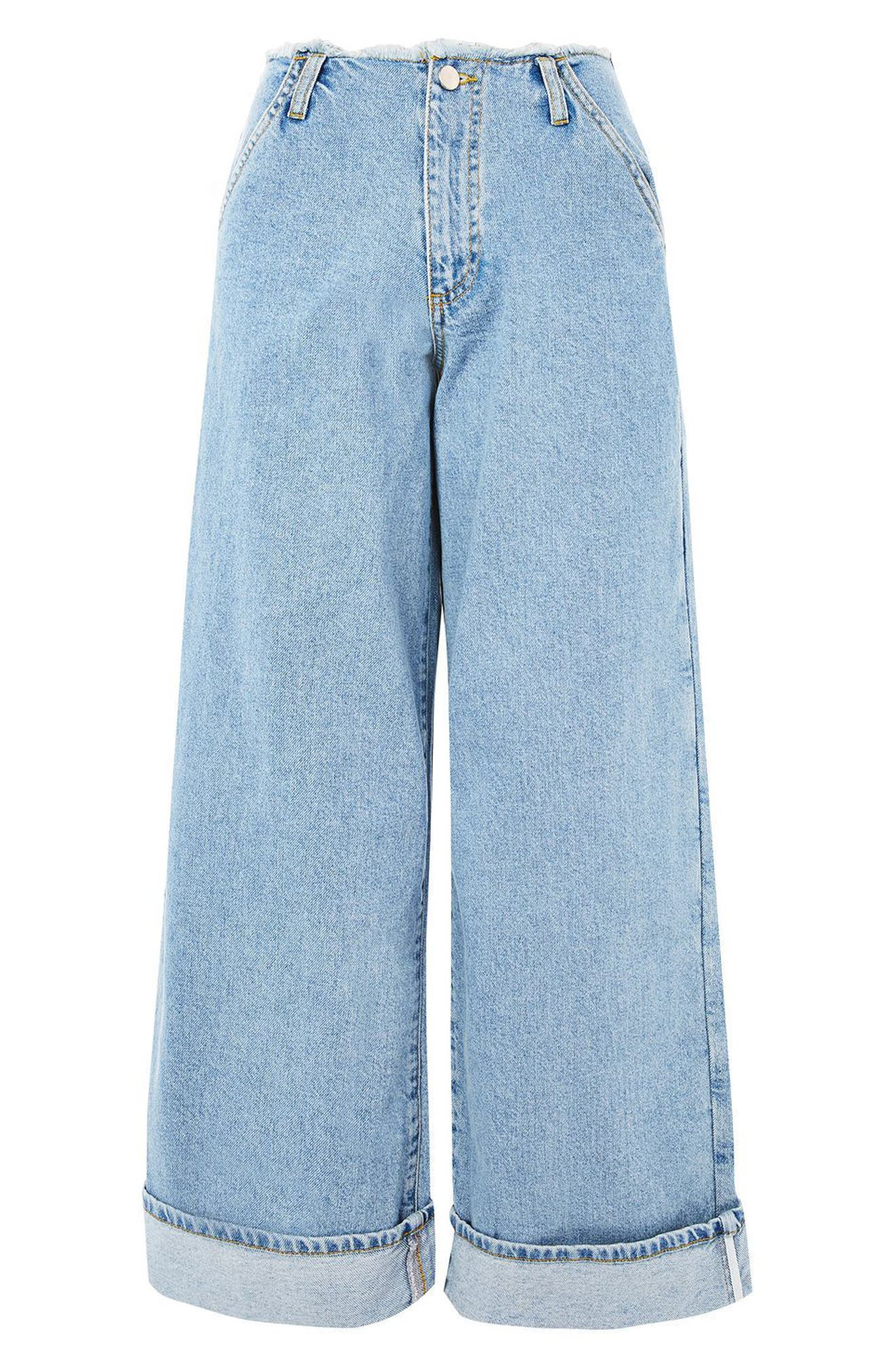 Frayed Waist Super Wide Leg Jeans,                             Alternate thumbnail 5, color,                             400