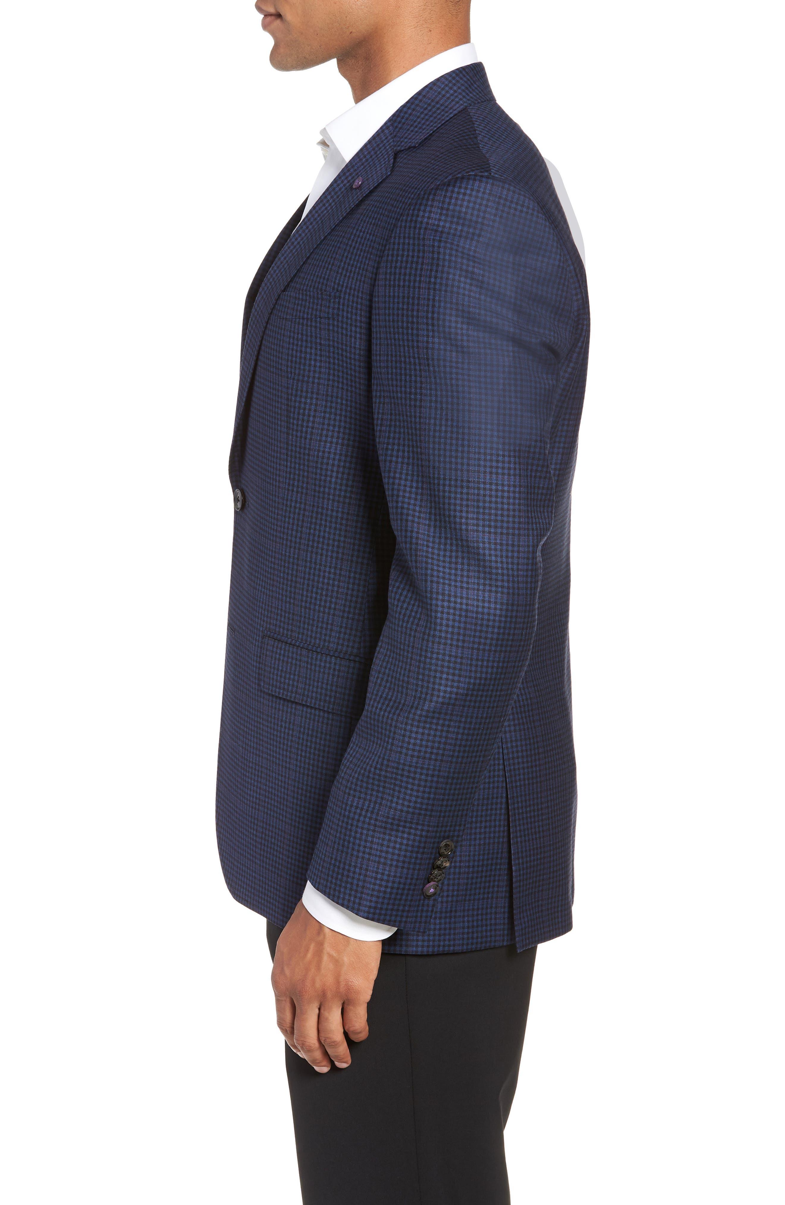 Jay 2B Trim Fit Check Wool Sport Coat,                             Alternate thumbnail 3, color,                             400
