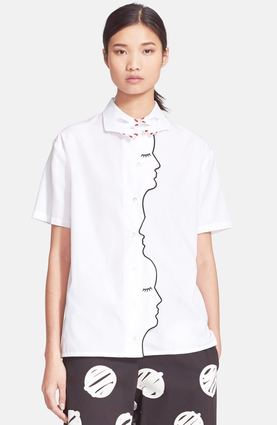 'Mirante' Short Sleeve Poplin Shirt, Main, color, 100