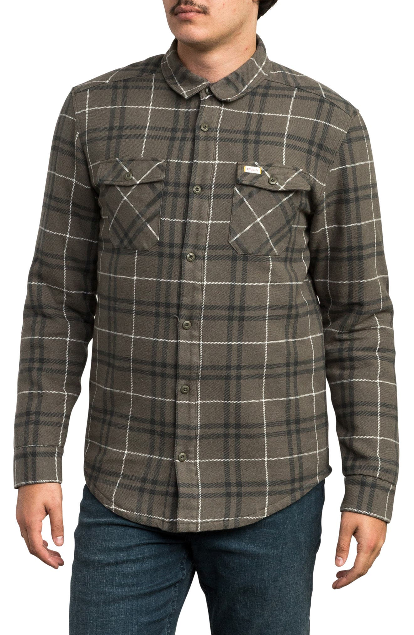 Andrew Reynolds Lined Plaid Shirt,                         Main,                         color, OLIVE
