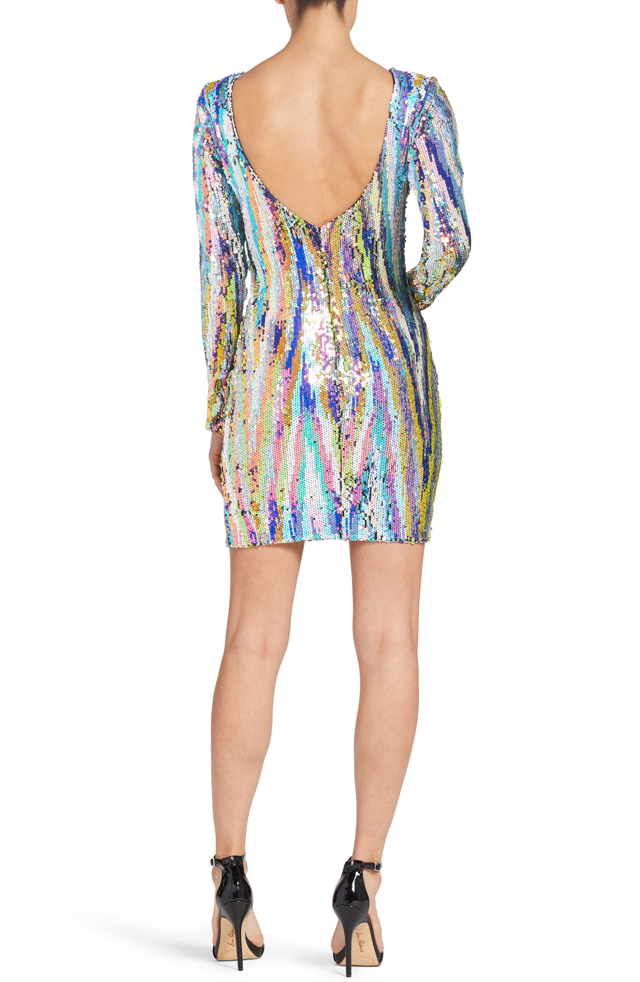 Lola Sequin Body-Con Dress,                             Alternate thumbnail 2, color,                             OPAL MULTI