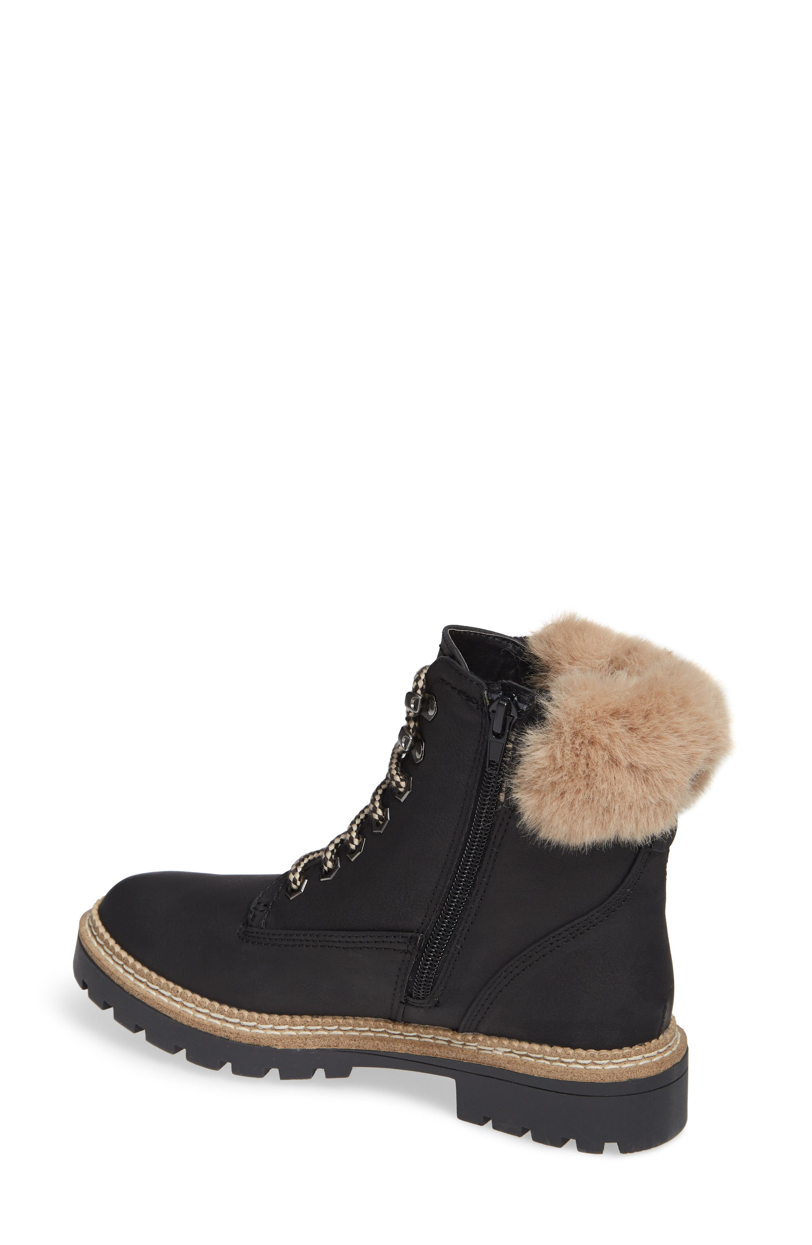 Alaska Lace-Up Bootie with Faux Fur Cuff,                             Alternate thumbnail 2, color,                             BLACK