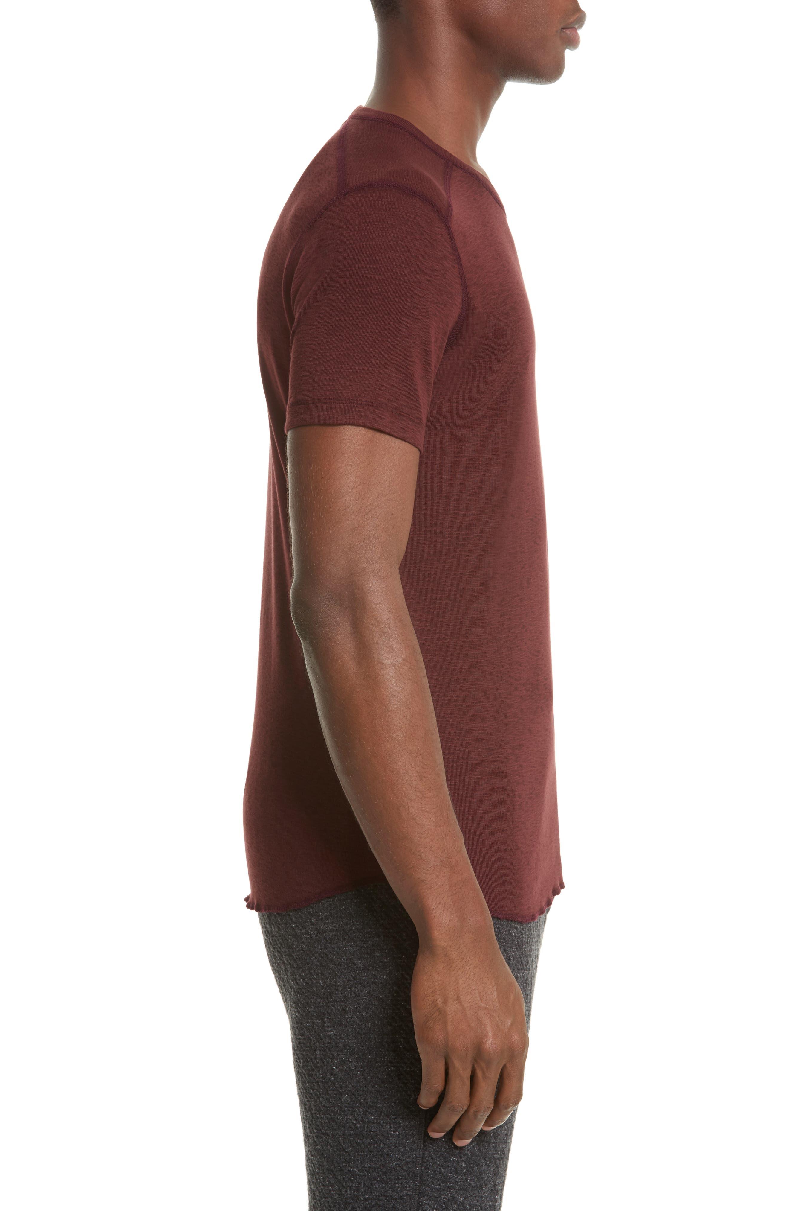 Ribbed Slub Cotton T-Shirt,                             Alternate thumbnail 3, color,                             OXBLOOD