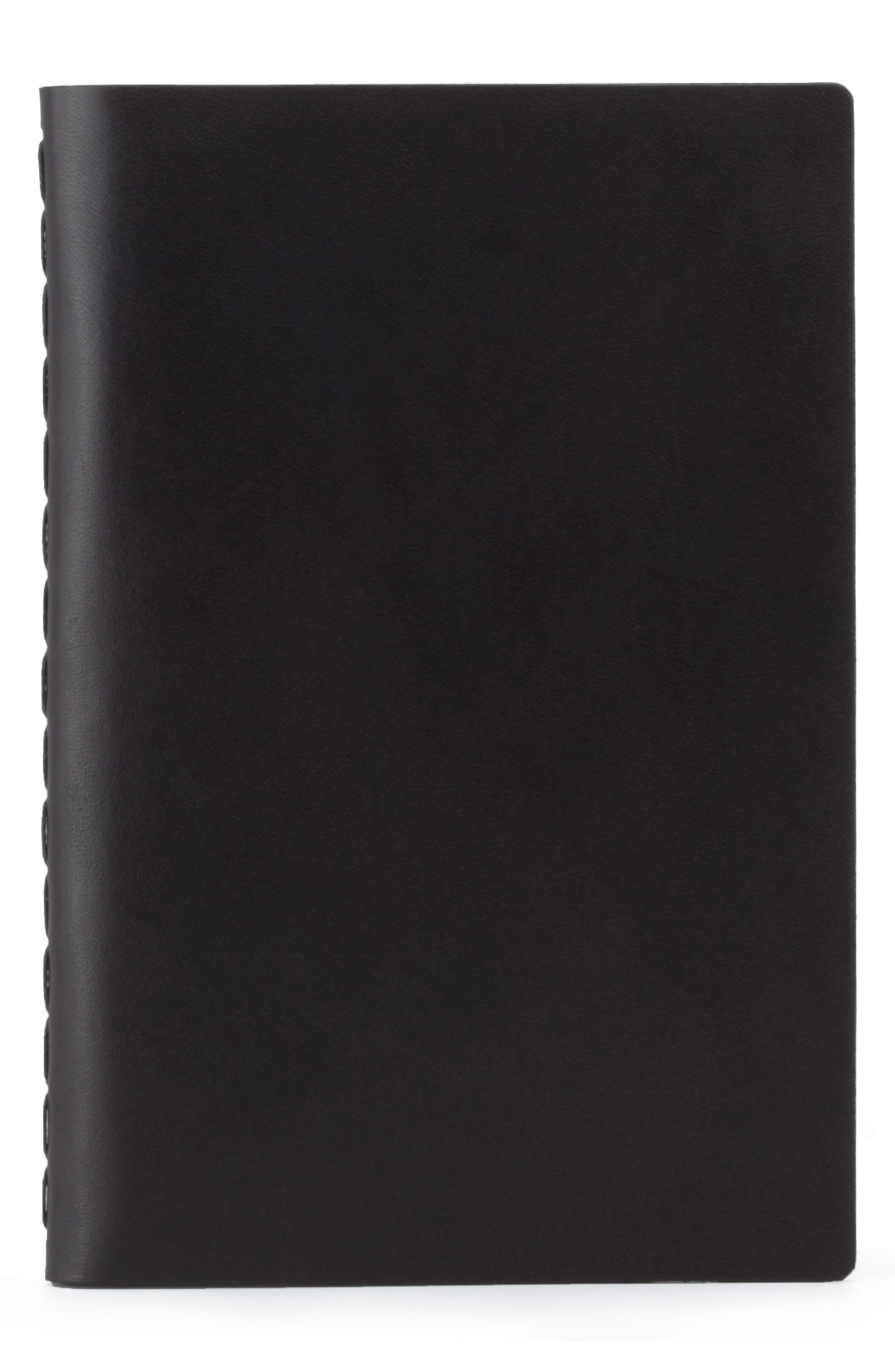 Medium Leather Notebook,                             Main thumbnail 1, color,                             JET