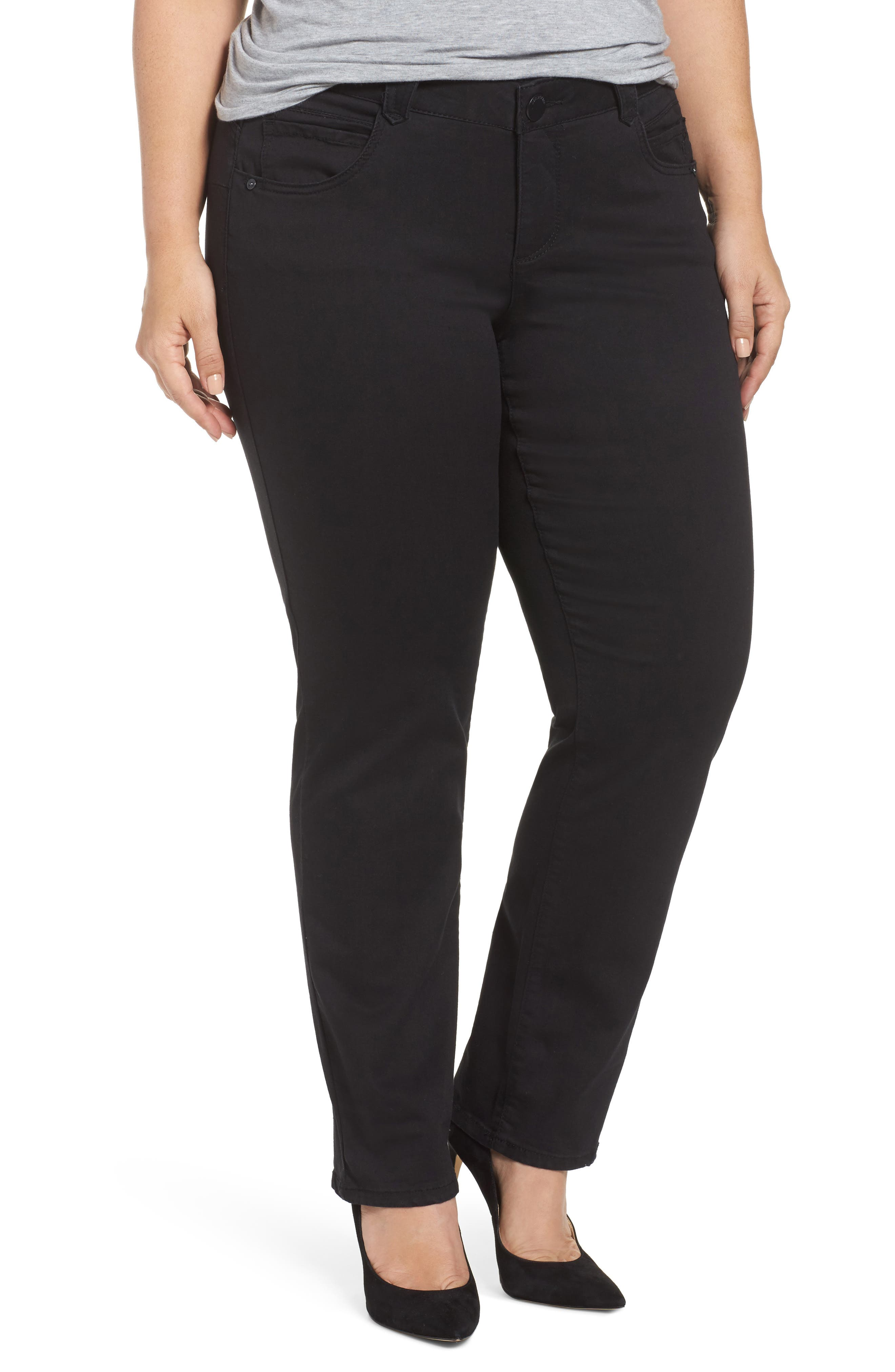 Ab-Solution Stretch Straight Leg Jeans,                         Main,                         color, BLACK