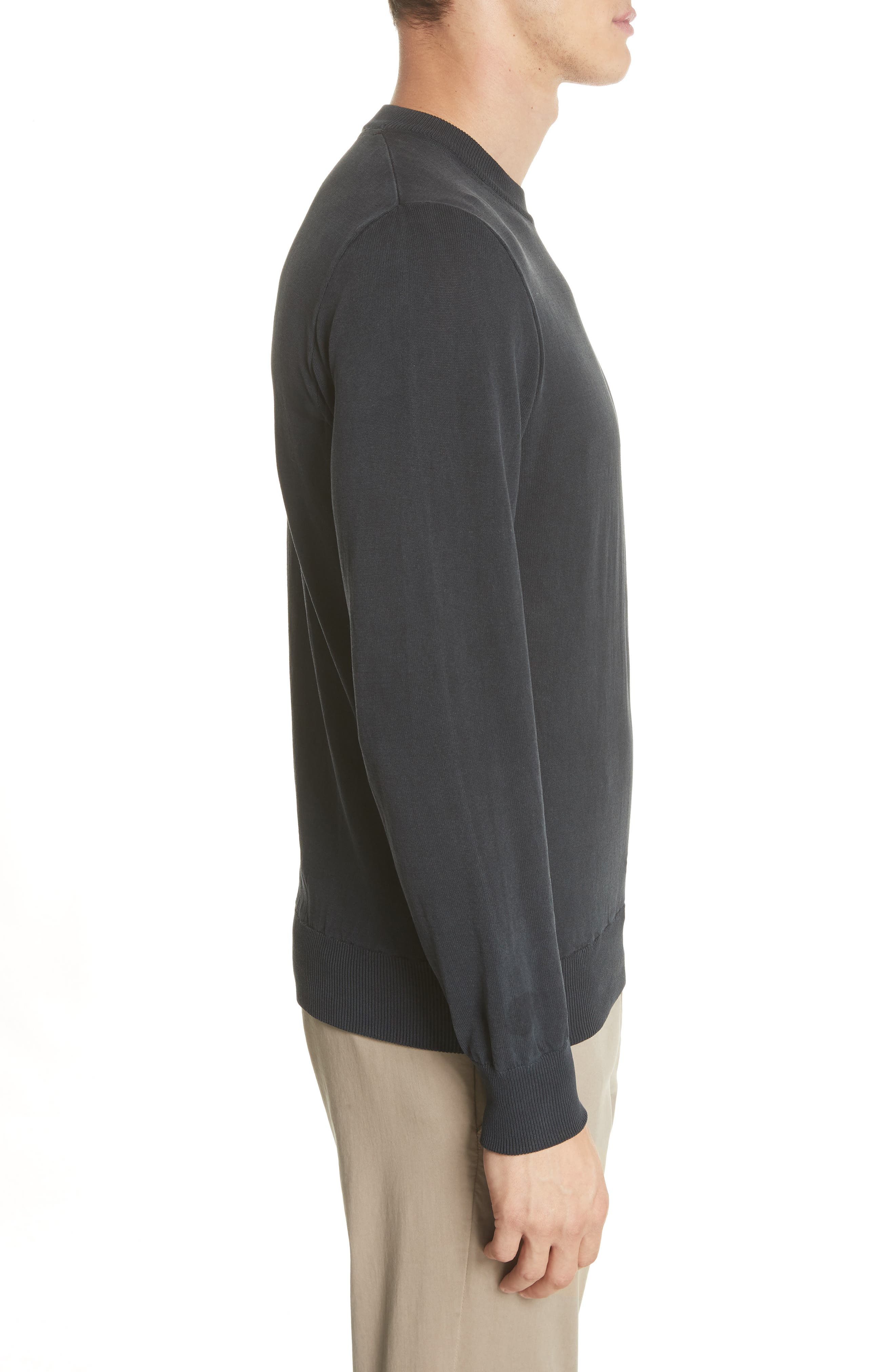 Magnus Combed Cotton Crewneck Sweater,                             Alternate thumbnail 3, color,                             410