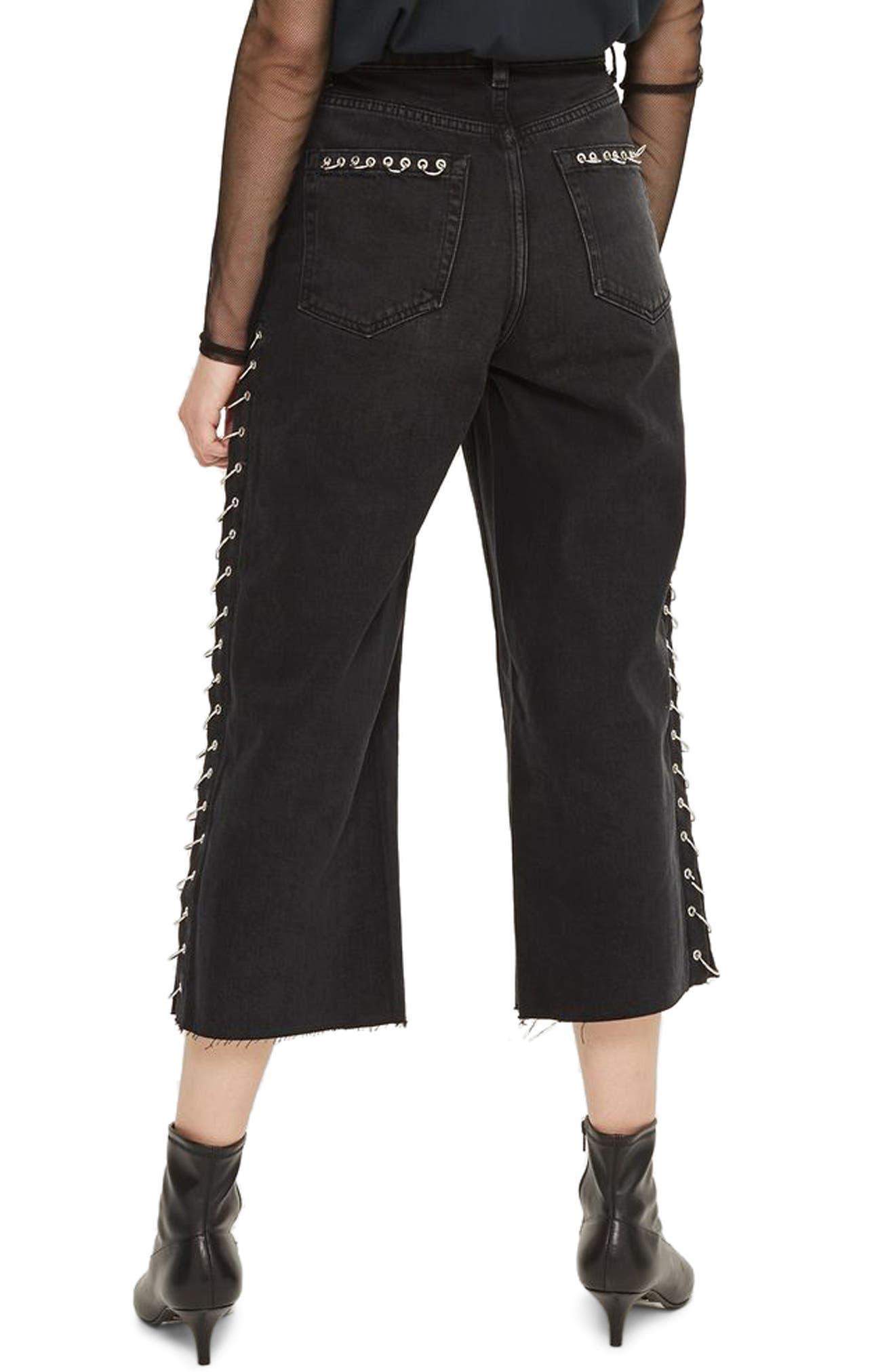 Pierced Crop Wide Leg Jeans,                             Alternate thumbnail 2, color,                             001