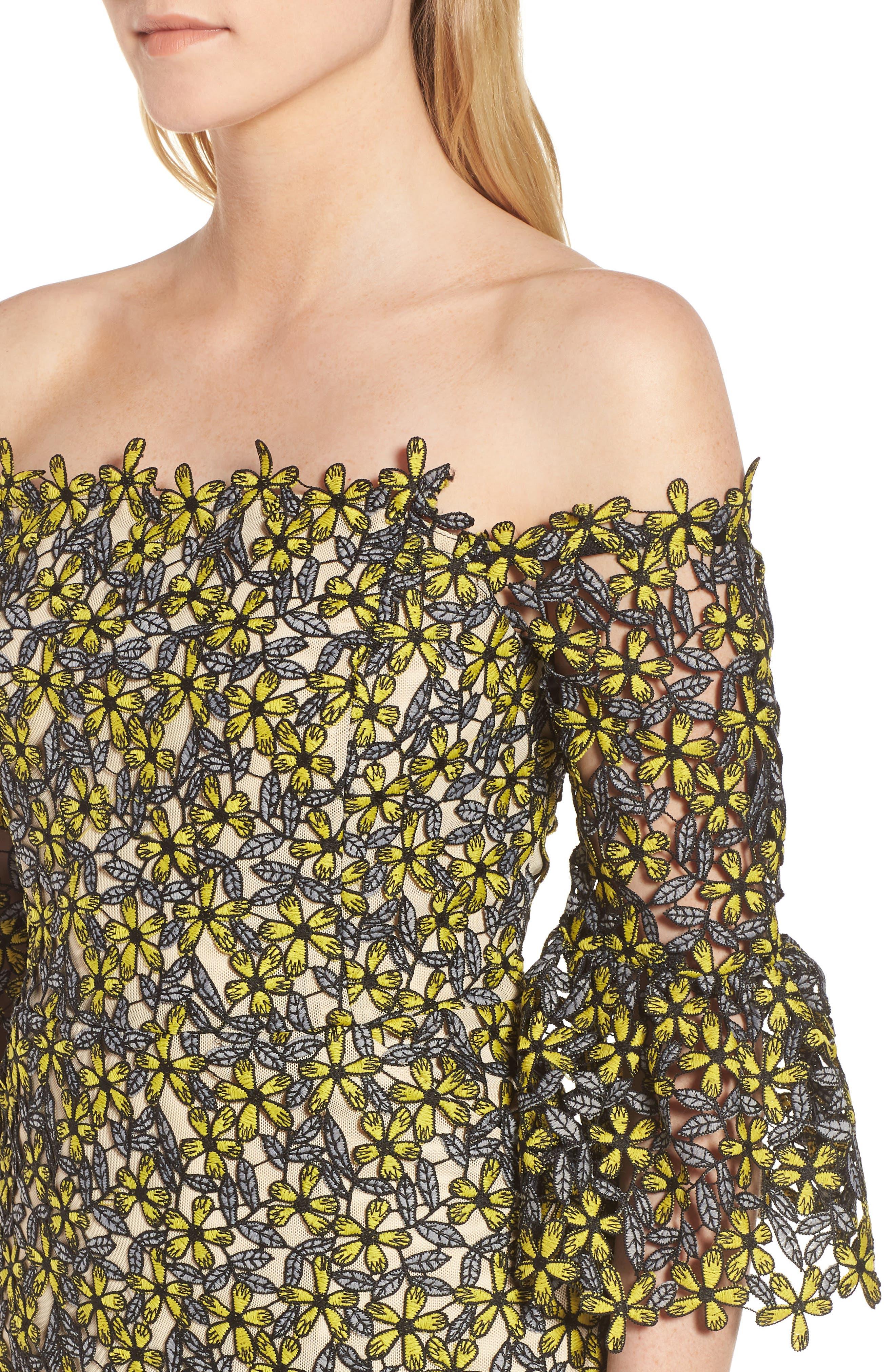 Eden Off the Shoulder Lace Dress,                             Alternate thumbnail 4, color,                             700