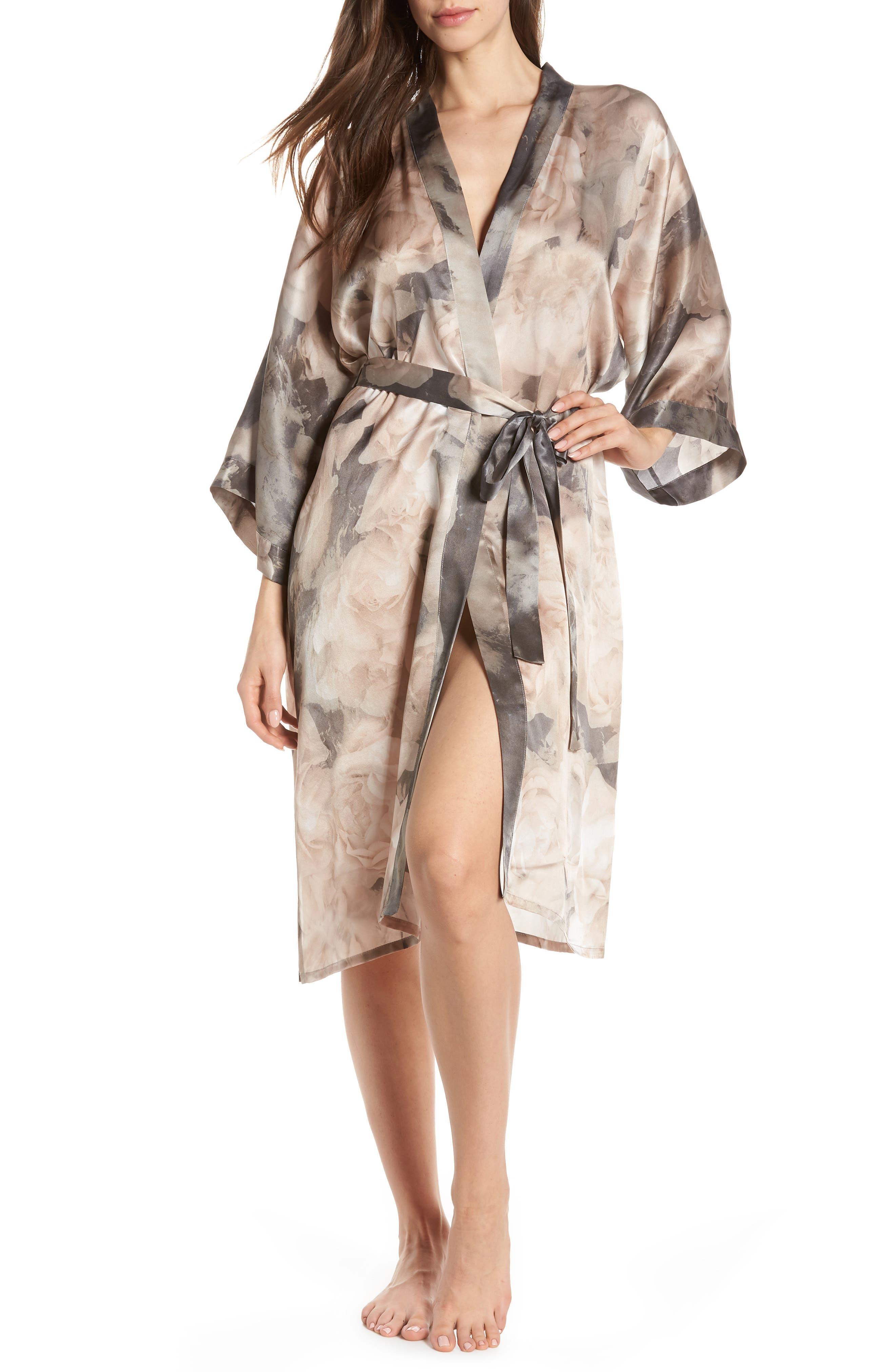 SAMANTHA CHANG,                             Silk Kimono,                             Main thumbnail 1, color,                             TENDER ROSE PRINT