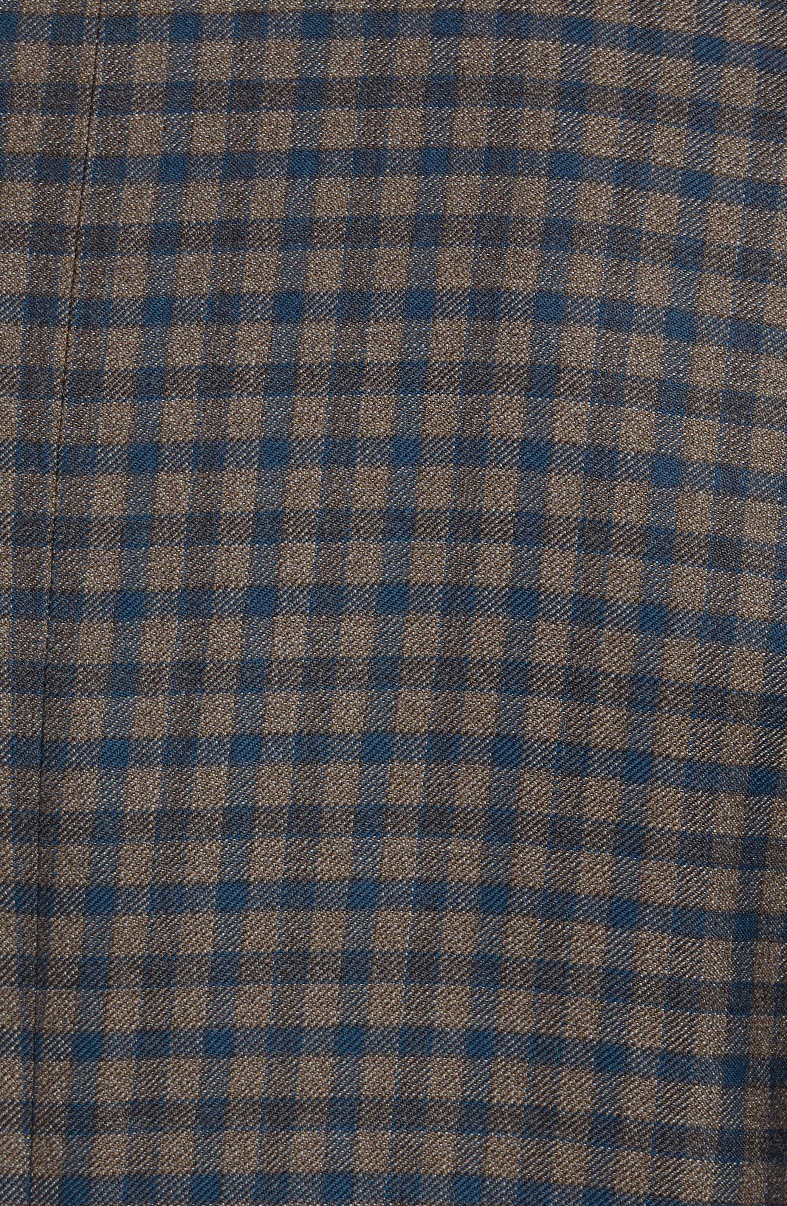 Classic B-Fit Check Wool Sport Coat,                             Alternate thumbnail 6, color,                             MEDIUM BROWN