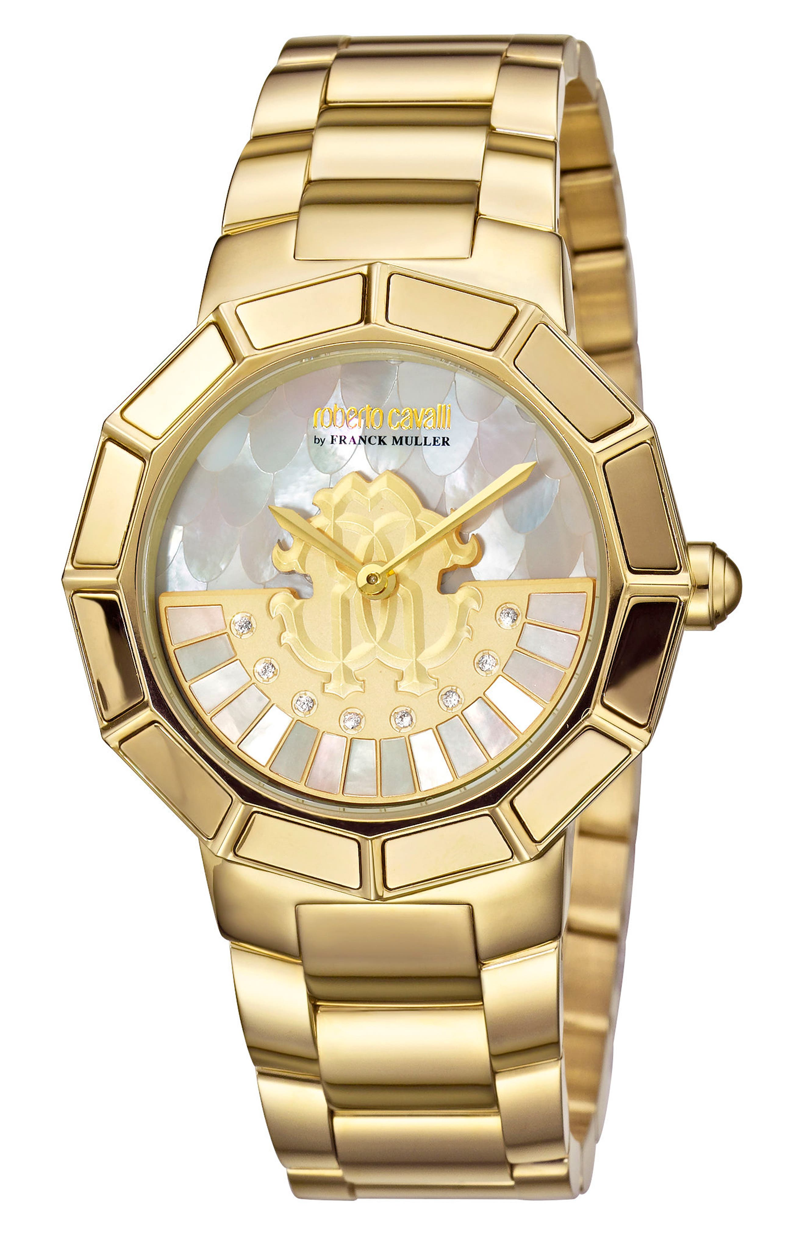 Rotating Dial Bracelet Watch, 37mm,                             Main thumbnail 1, color,                             GOLD/ WHITE MOTHER OF PEARL