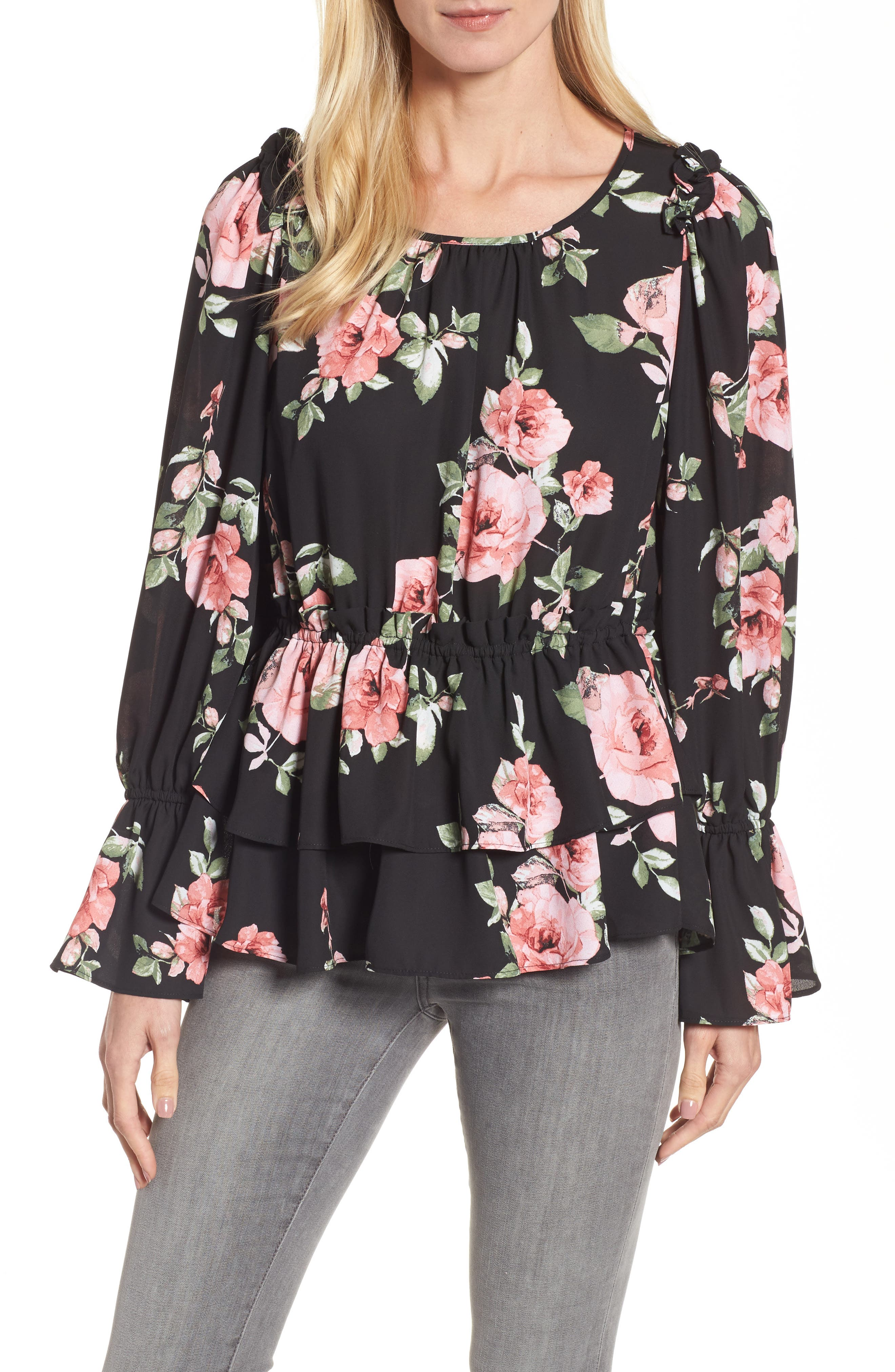 Floral Ruffle Blouse,                         Main,                         color, 001