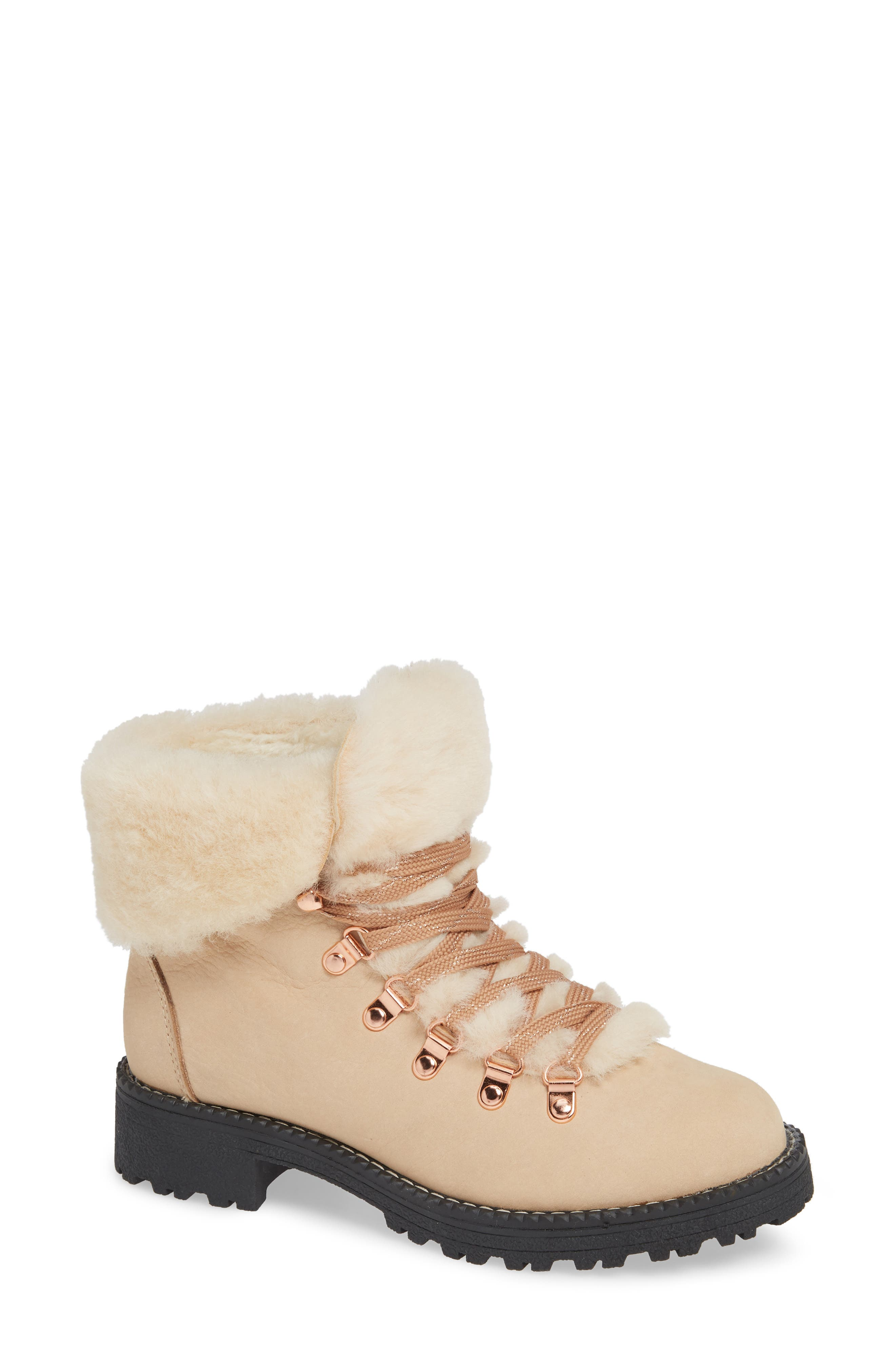 Nordic Genuine Shearling Cuff Winter Boot,                             Main thumbnail 1, color,                             DUNE LEATHER
