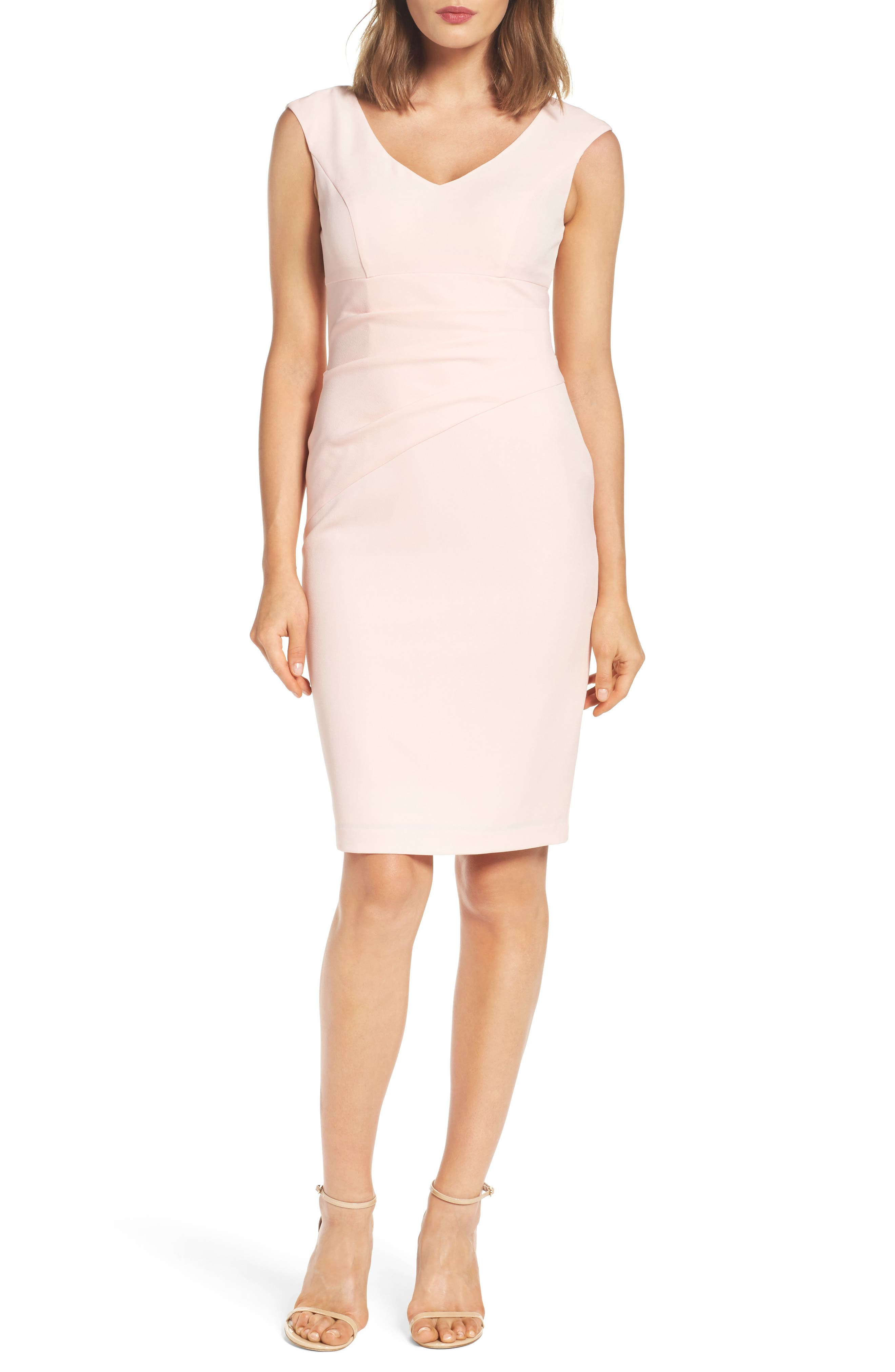 Crepe Sheath Dress,                             Main thumbnail 2, color,