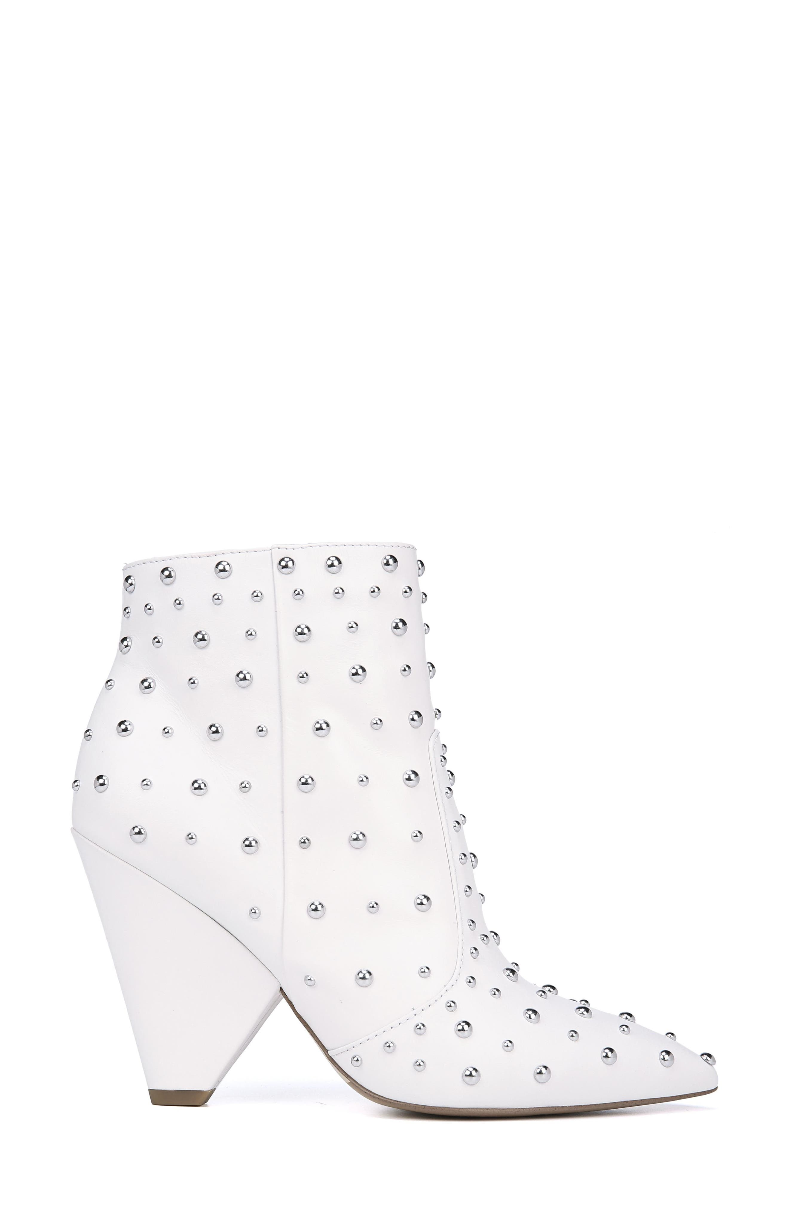 Roya Studded Boot,                             Alternate thumbnail 3, color,                             BRIGHT WHITE LEATHER