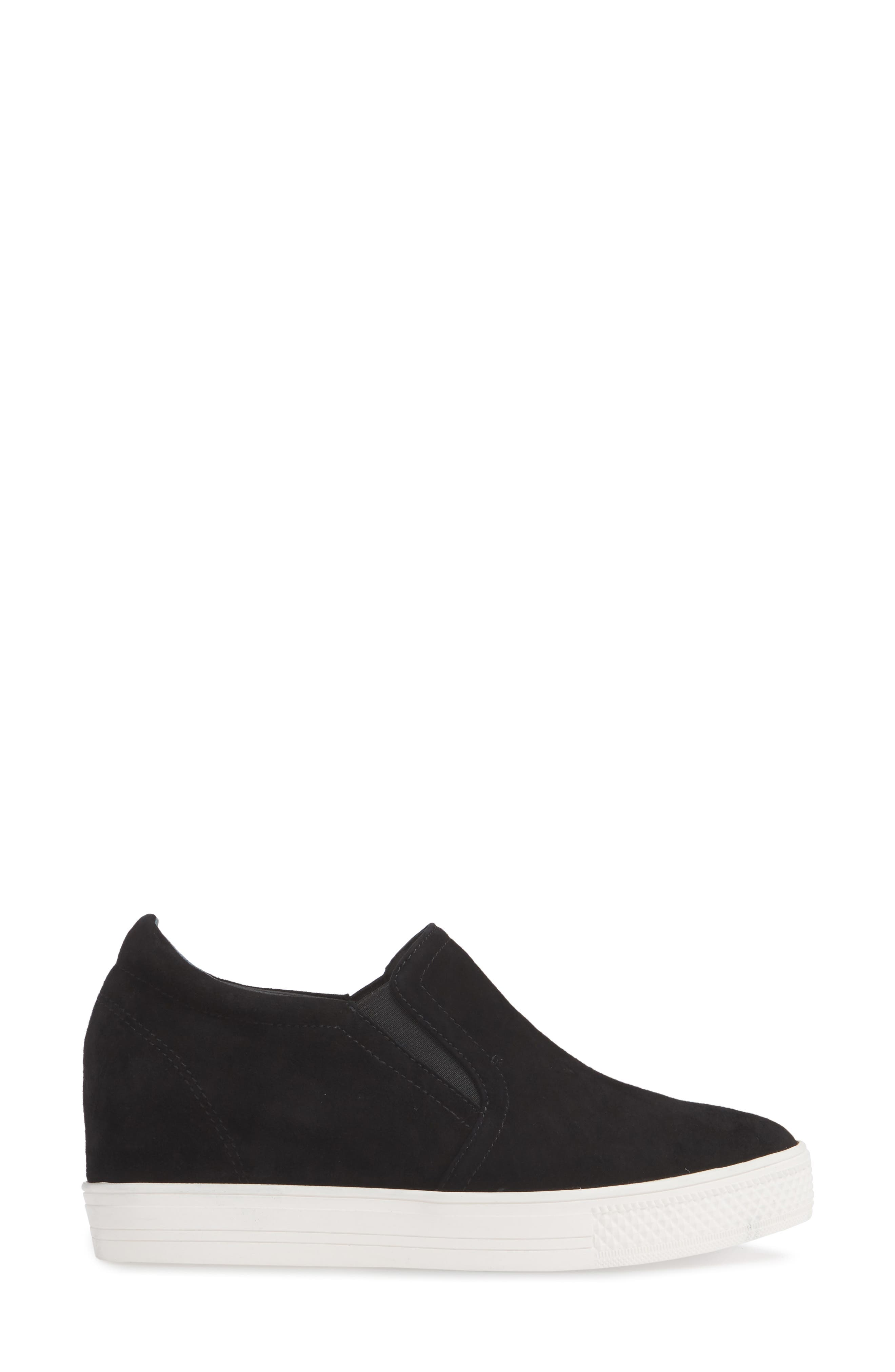 Austin Slip-On Sneaker,                             Alternate thumbnail 3, color,                             BLACK SUEDE