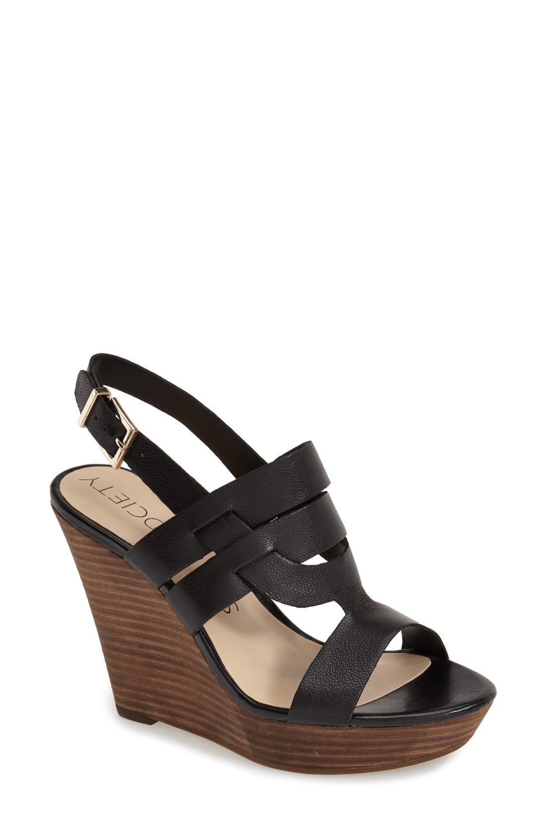 'Jenny' Slingback Wedge Sandal,                             Main thumbnail 1, color,                             001