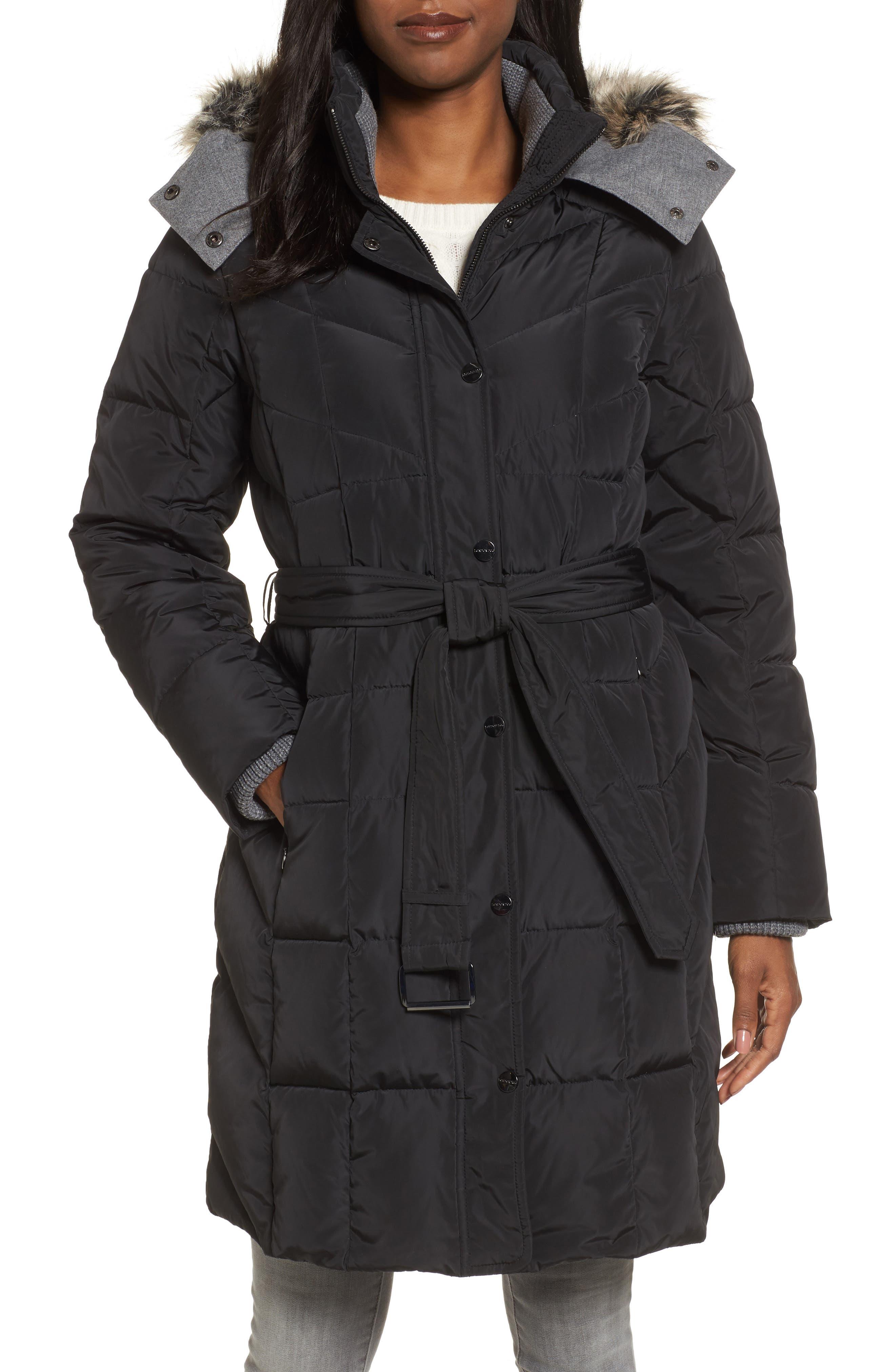 Down Coat with Faux Fur Trim,                         Main,                         color,