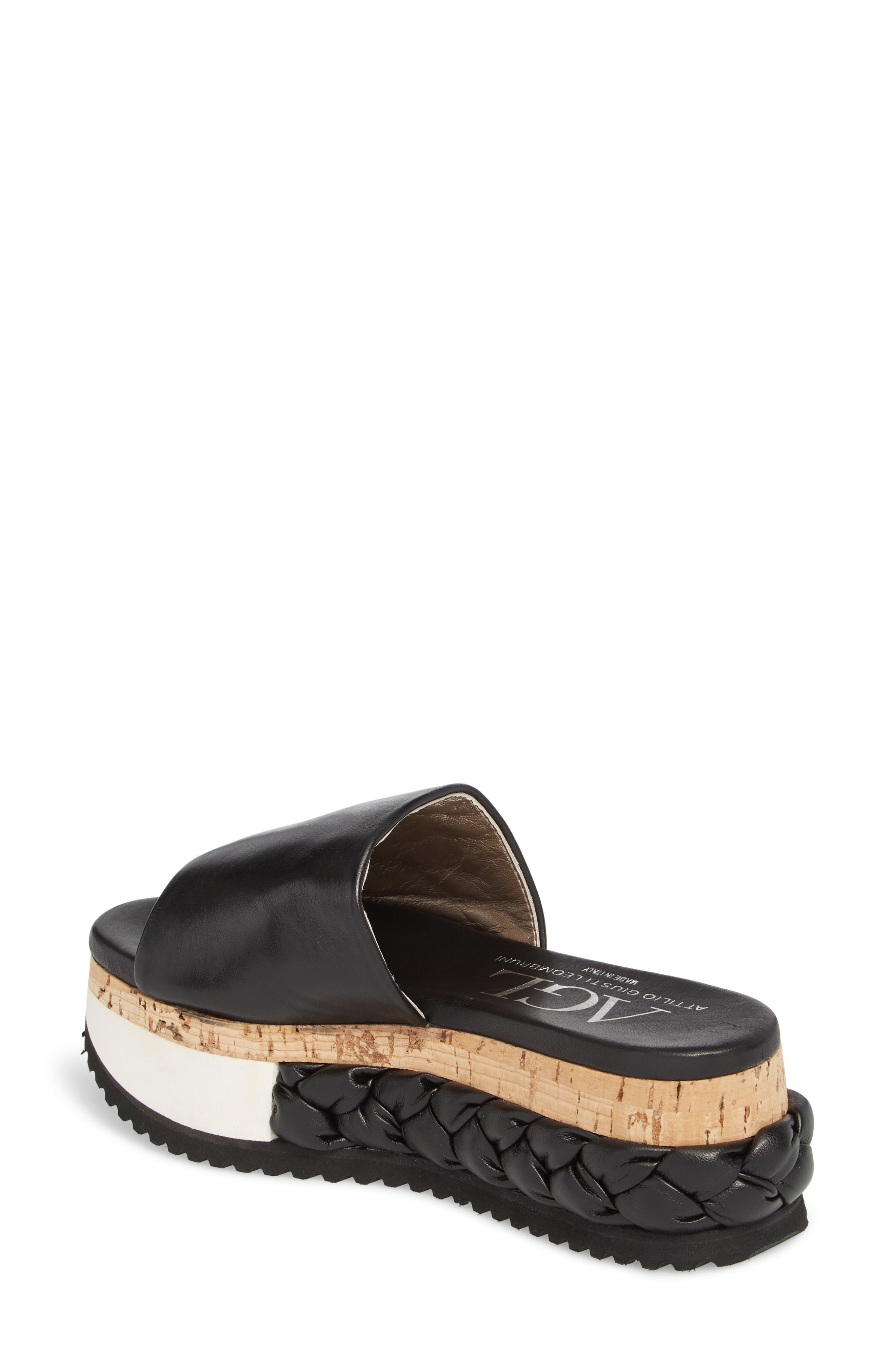 Braided Flatform Slide Sandal,                             Alternate thumbnail 2, color,                             001