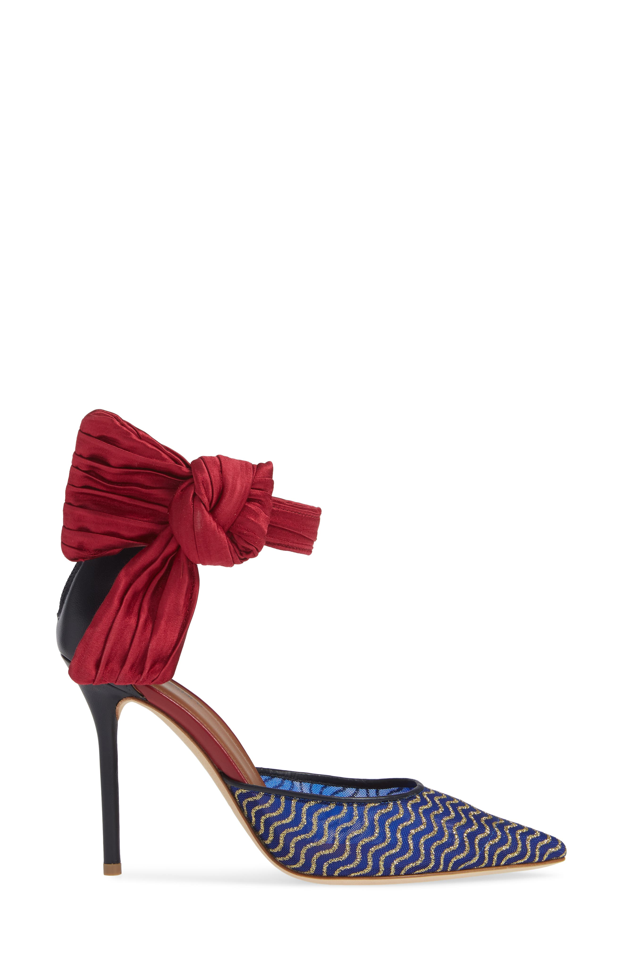 Elle Bow Pump,                             Alternate thumbnail 3, color,                             BLUE/ RED