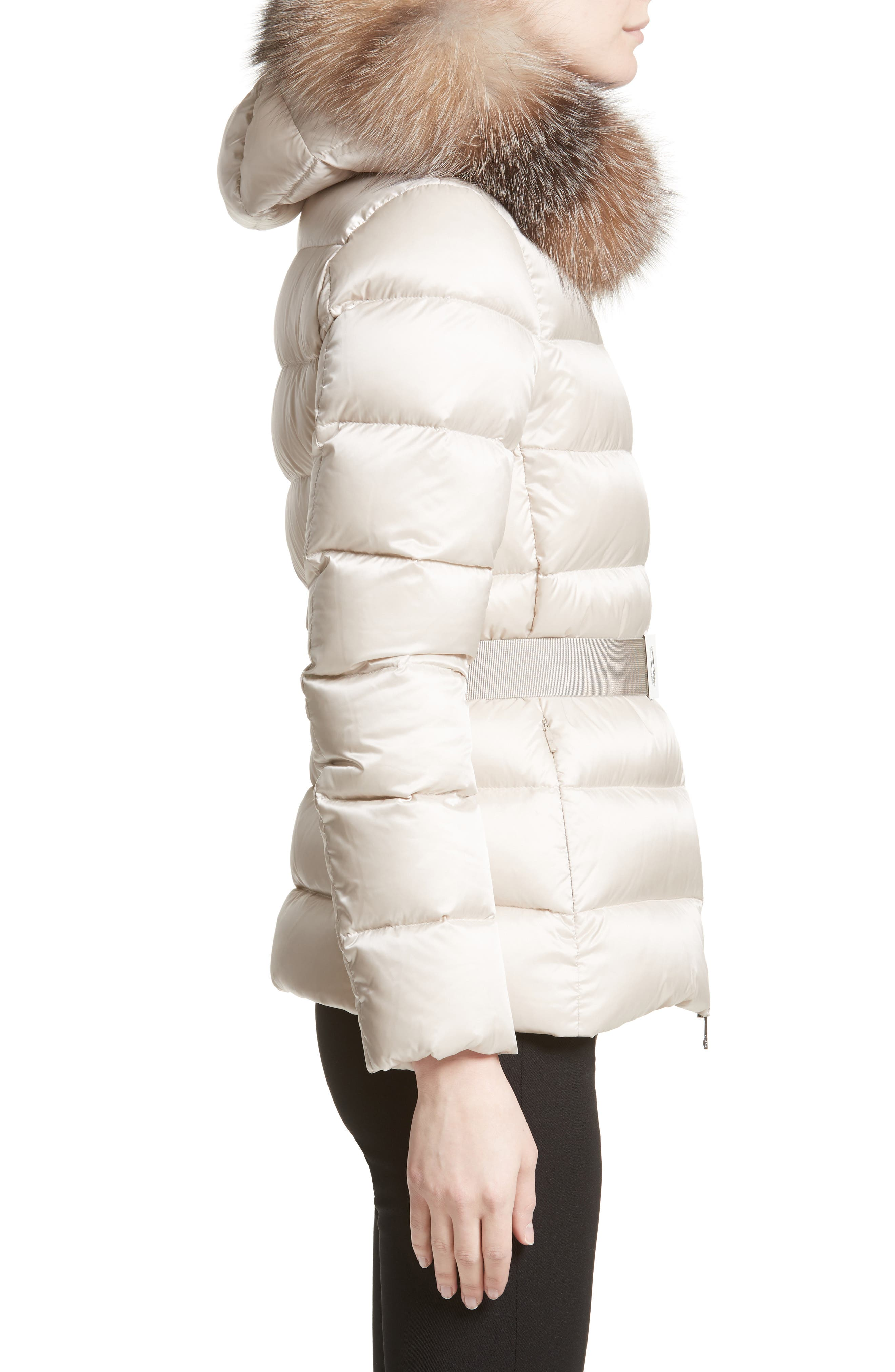 Tatie Belted Down Puffer Coat with Removable Genuine Fox Fur Trim,                             Alternate thumbnail 3, color,                             CHAMPAGNE