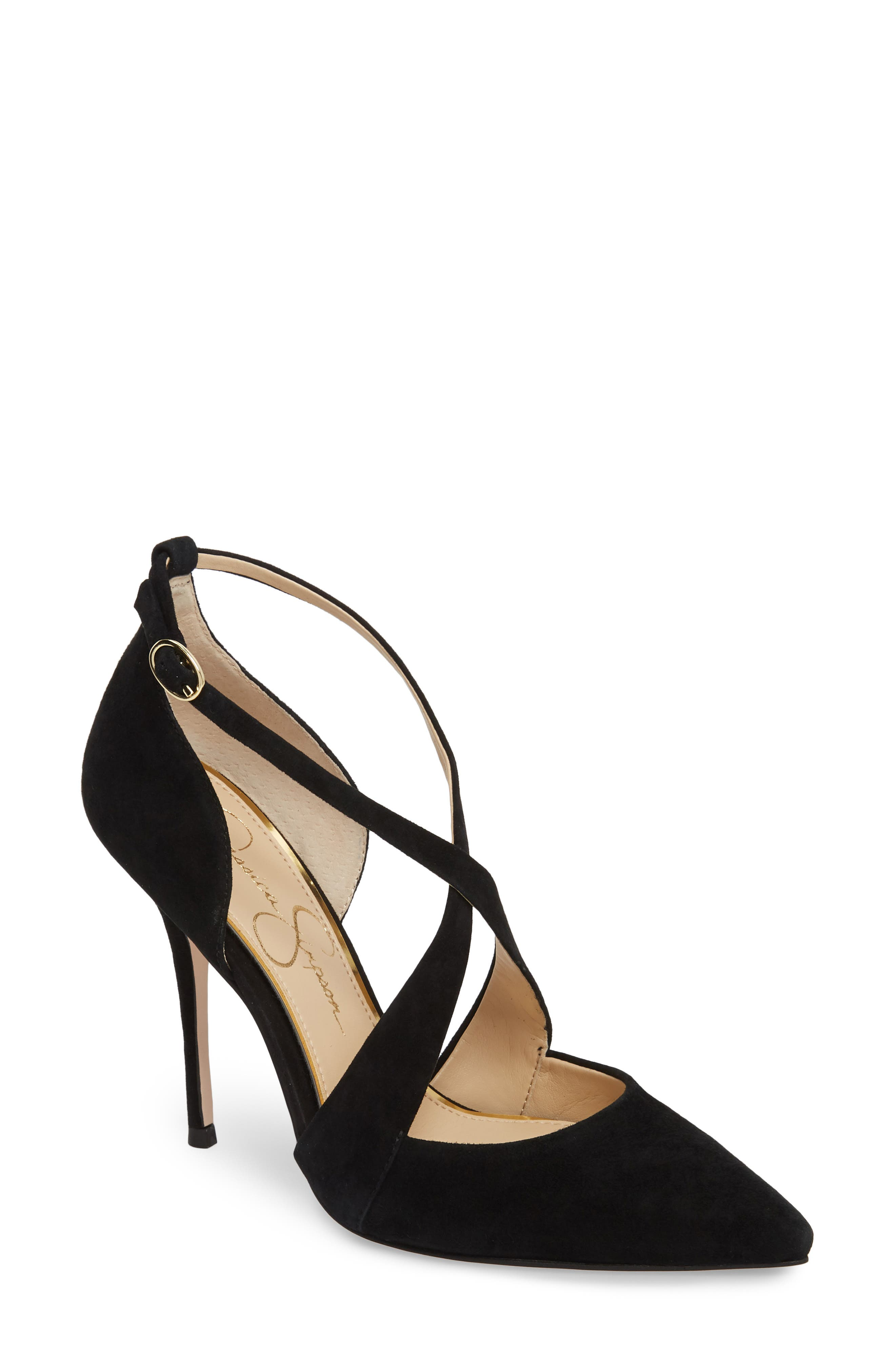 Wixen Cross Strap Pump,                         Main,                         color, BLACK