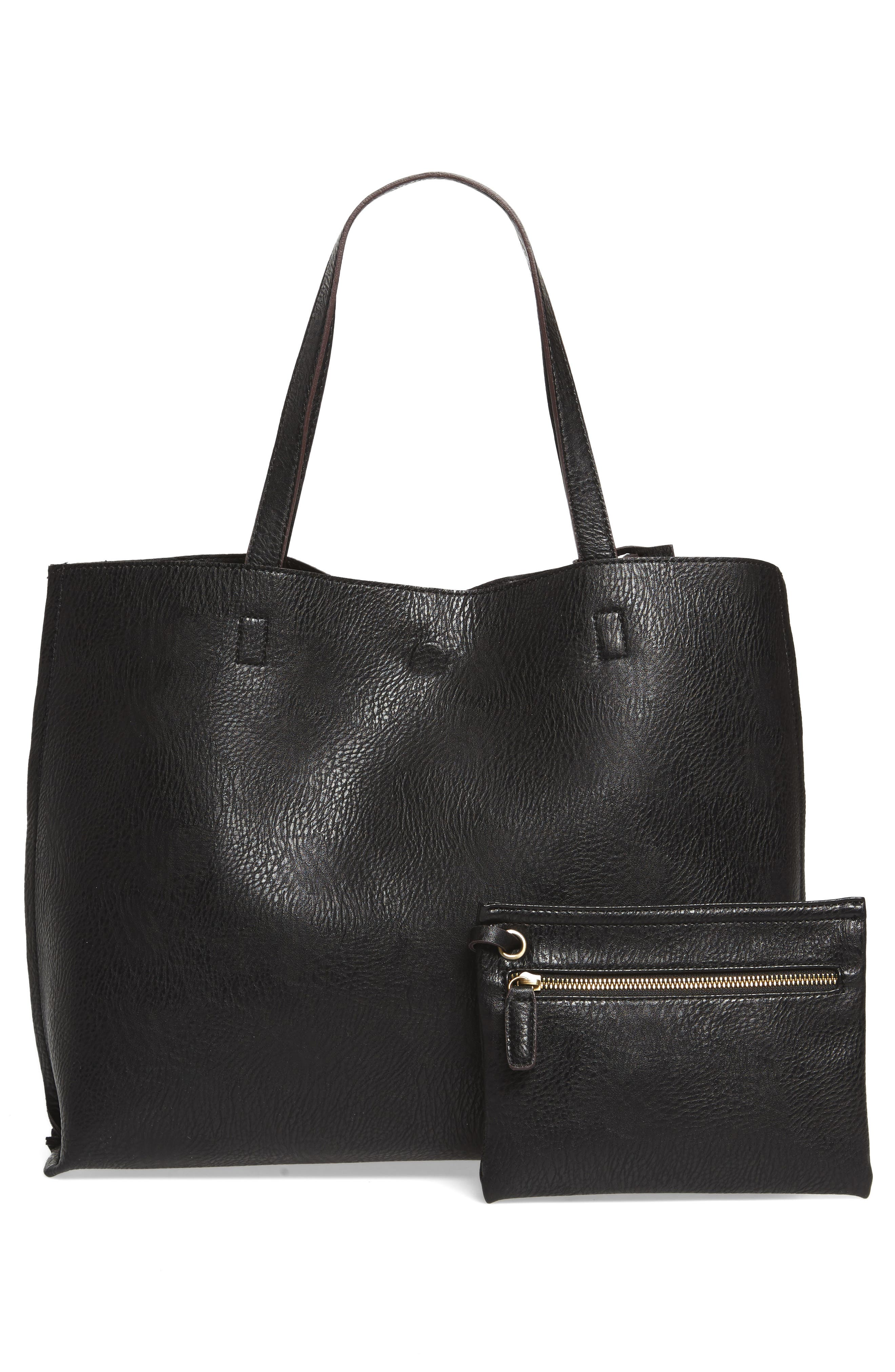 Reversible Textured Faux Leather Tote,                             Alternate thumbnail 4, color,                             001