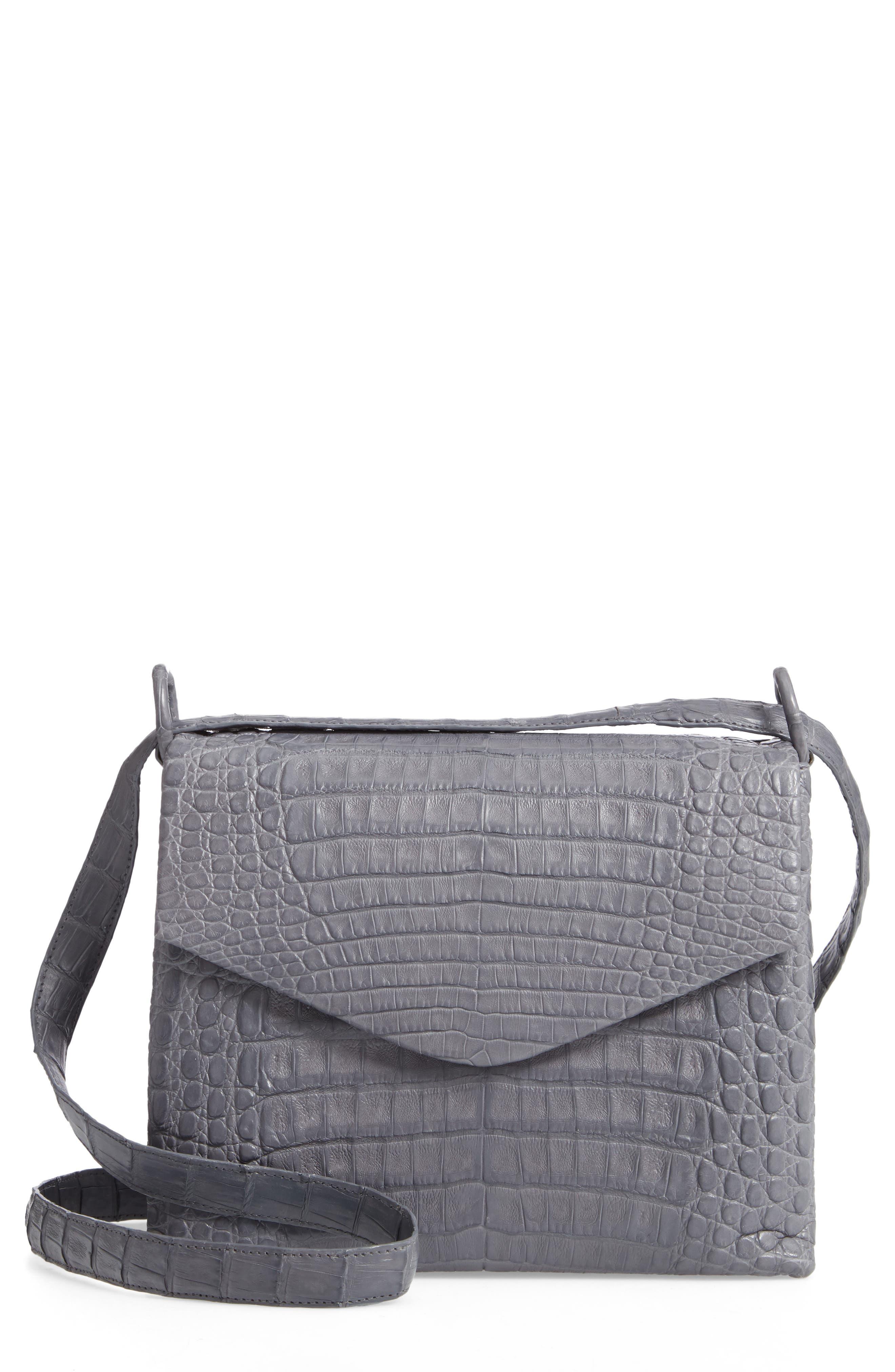 Medium Astor Crossbody Genuine Crocodile Bag - Grey in Grey Matte